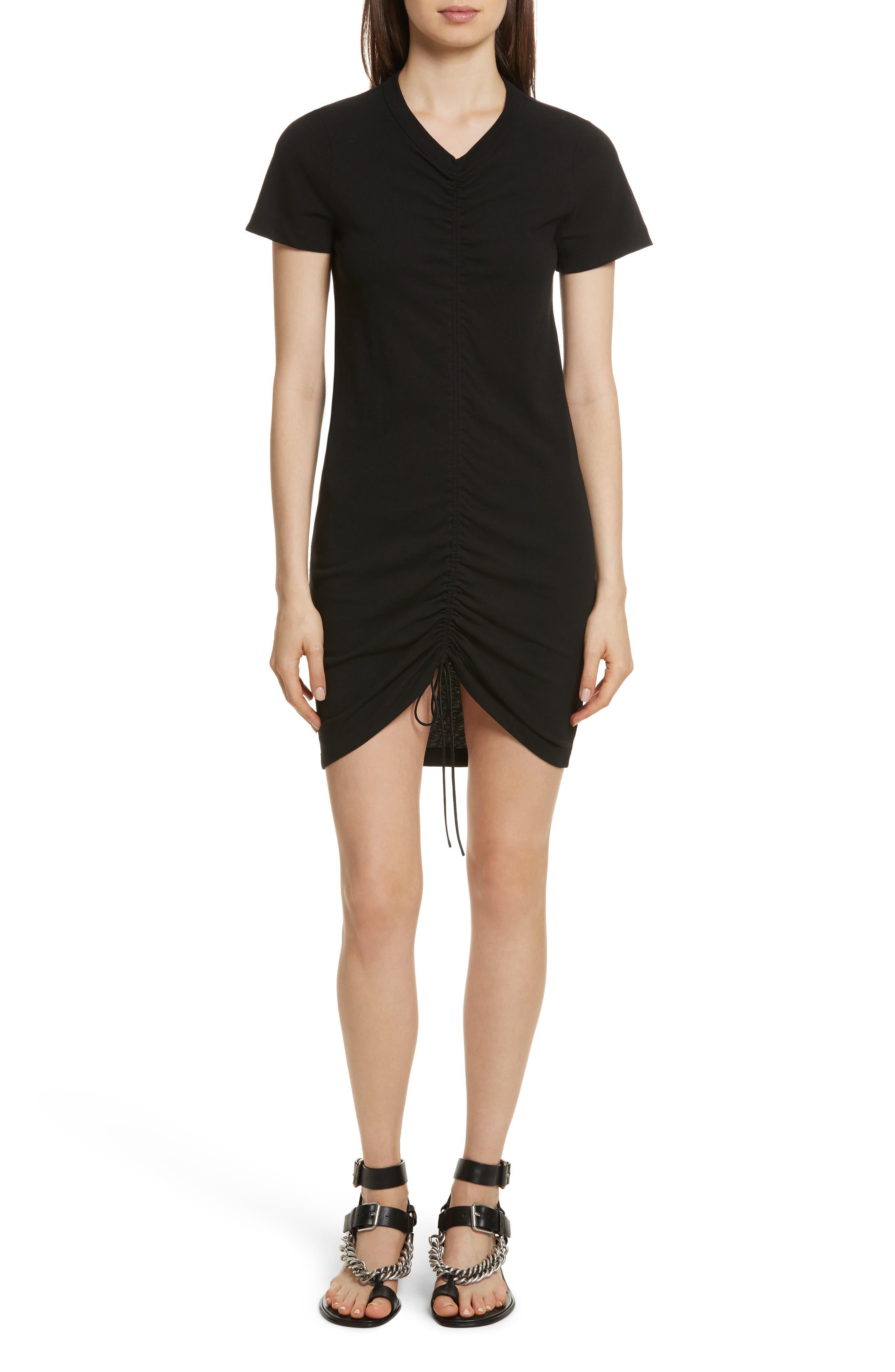 Gathered T-Shirt Dress,                         Main,                         color, Black