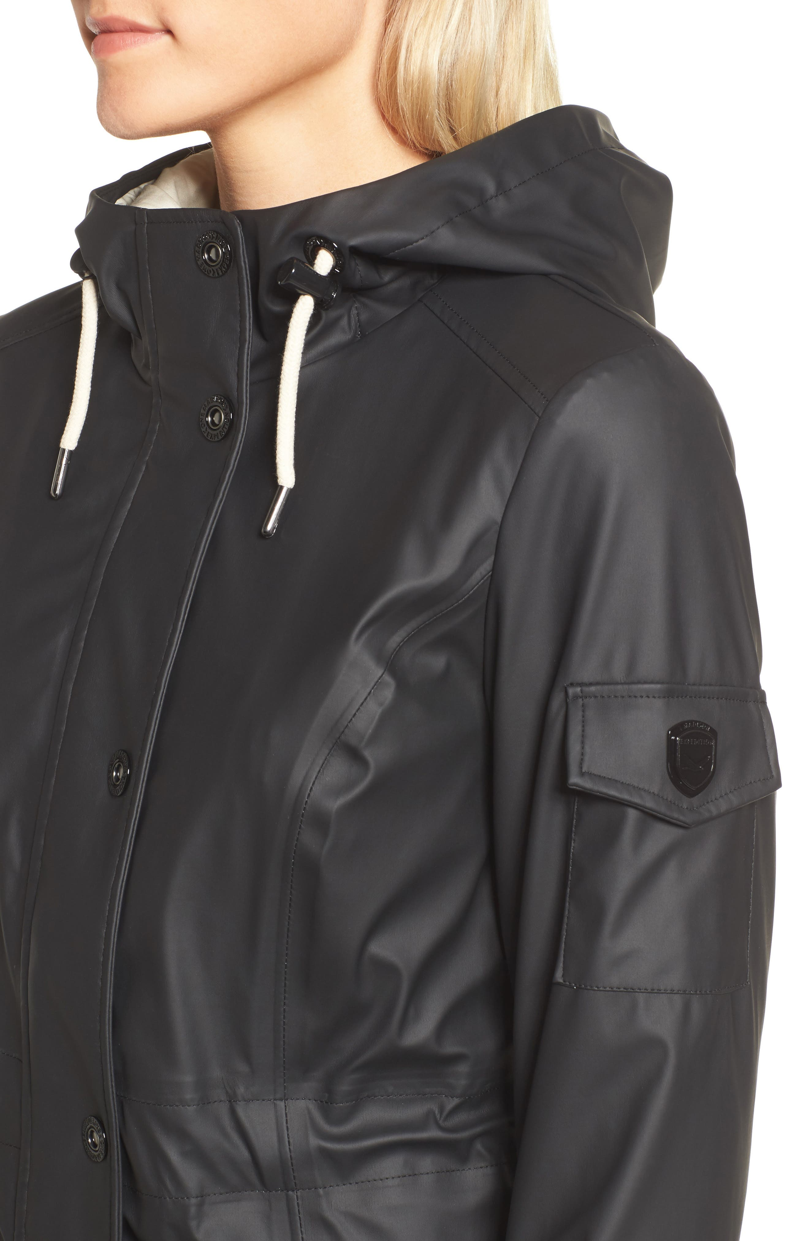 Contrast Cuff Fishtail Anorak,                             Alternate thumbnail 4, color,                             Black