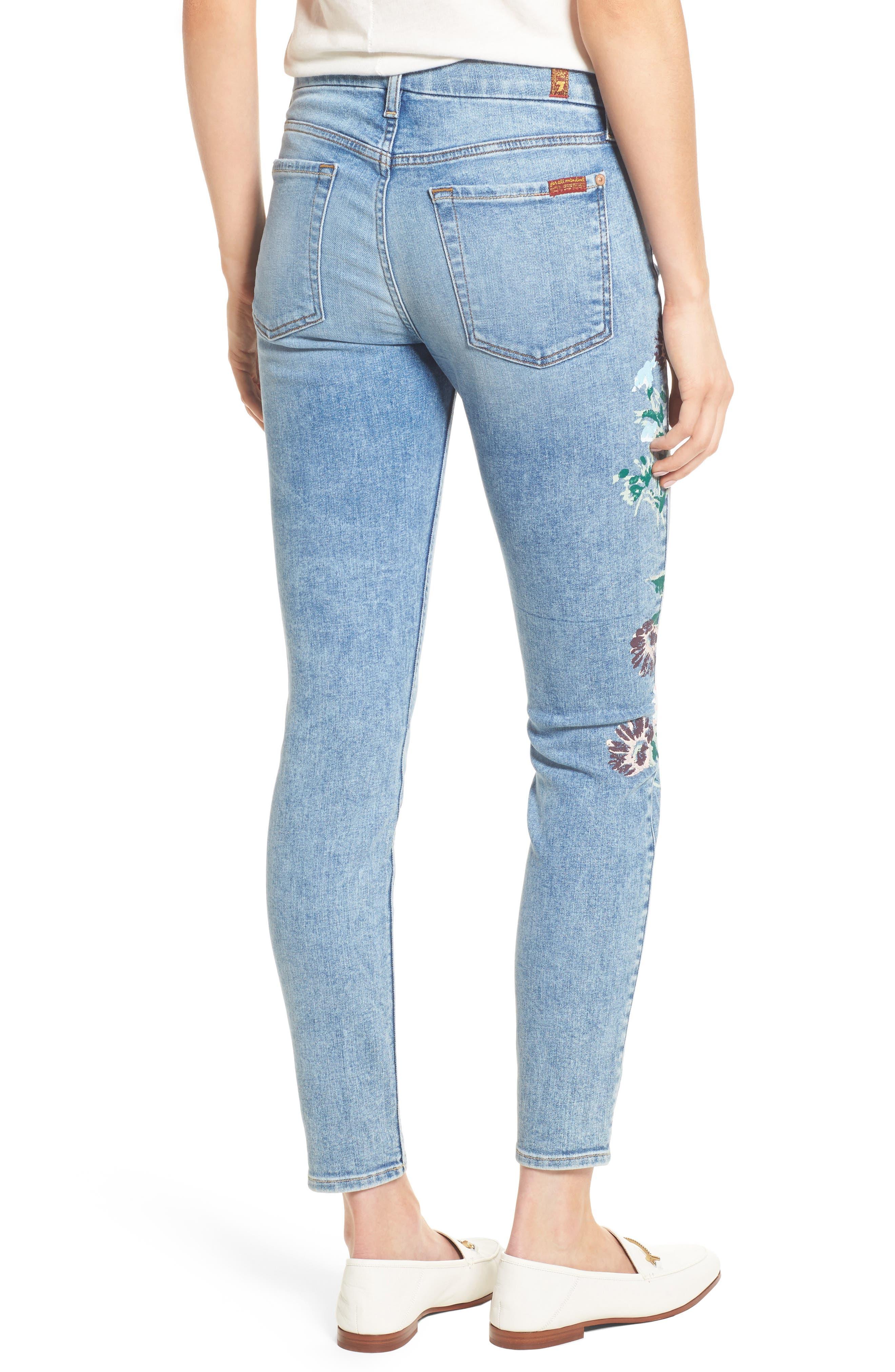 Embellished & Ripped Ankle Skinny Jeans,                             Alternate thumbnail 2, color,                             Radiant Wythe W/ Floral