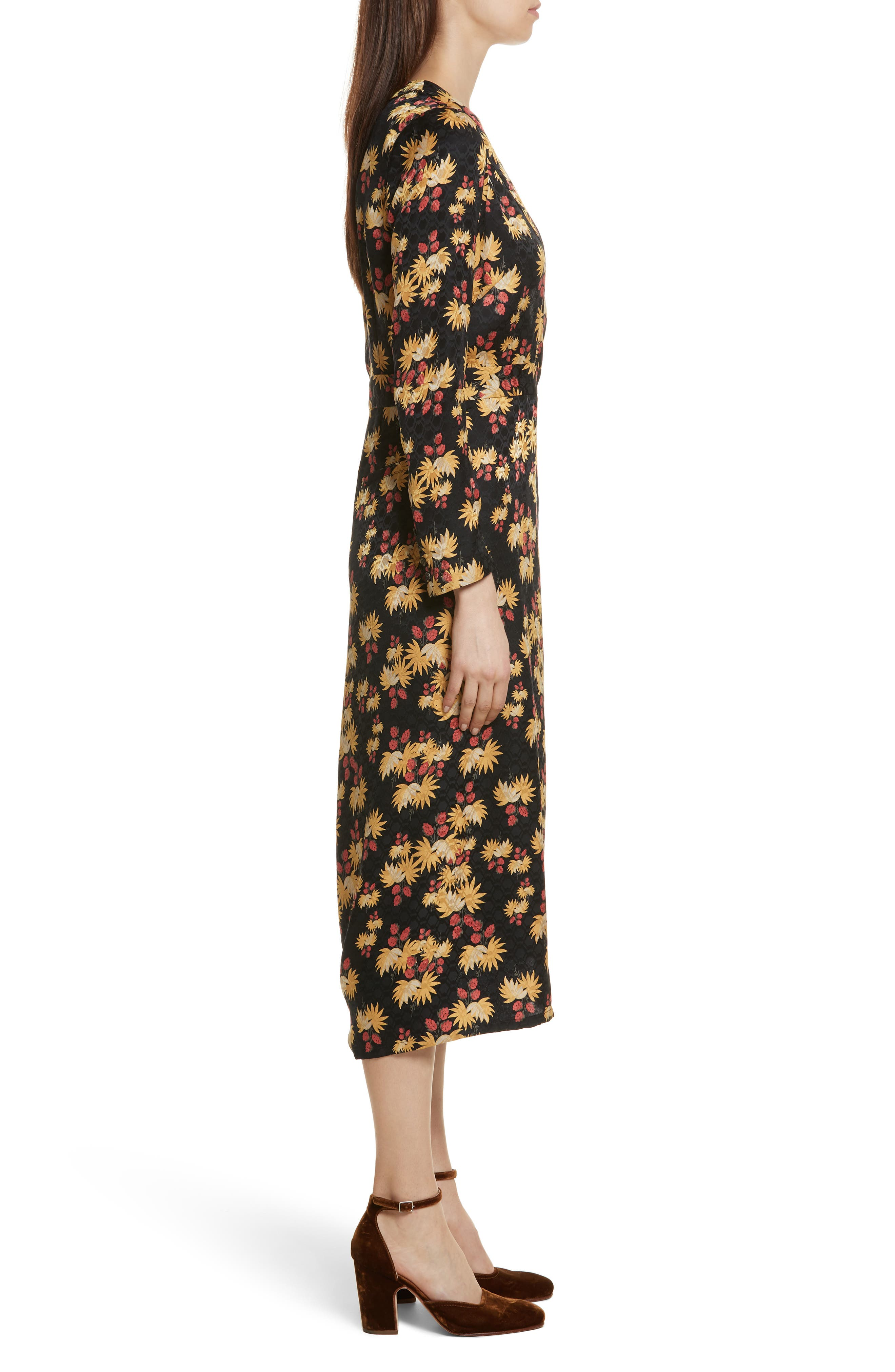Uvalde Print Silk Jumpsuit,                             Alternate thumbnail 3, color,                             Black Multi