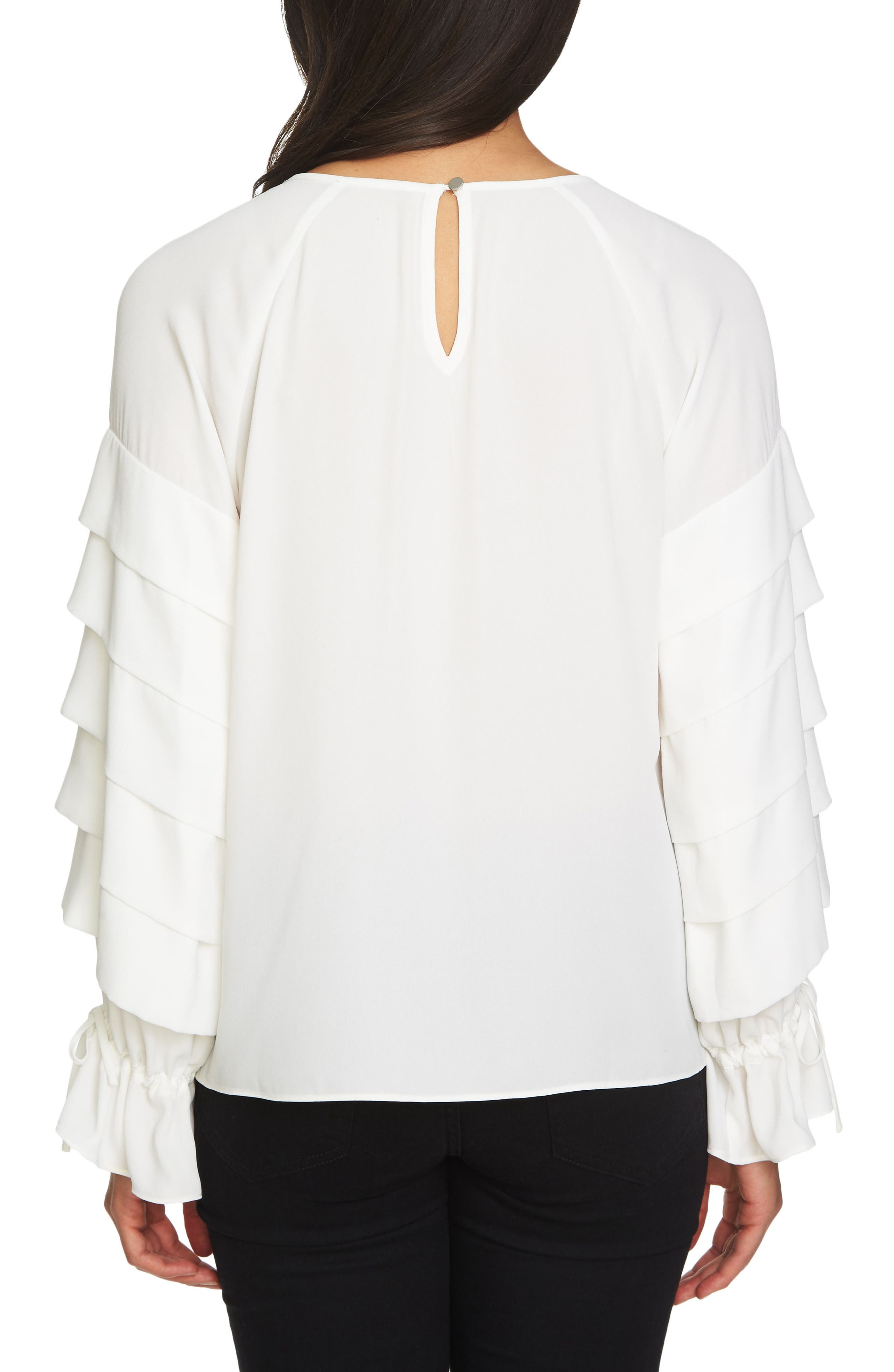 Tiered Sleeve Top,                             Alternate thumbnail 2, color,                             108-Antiq. White