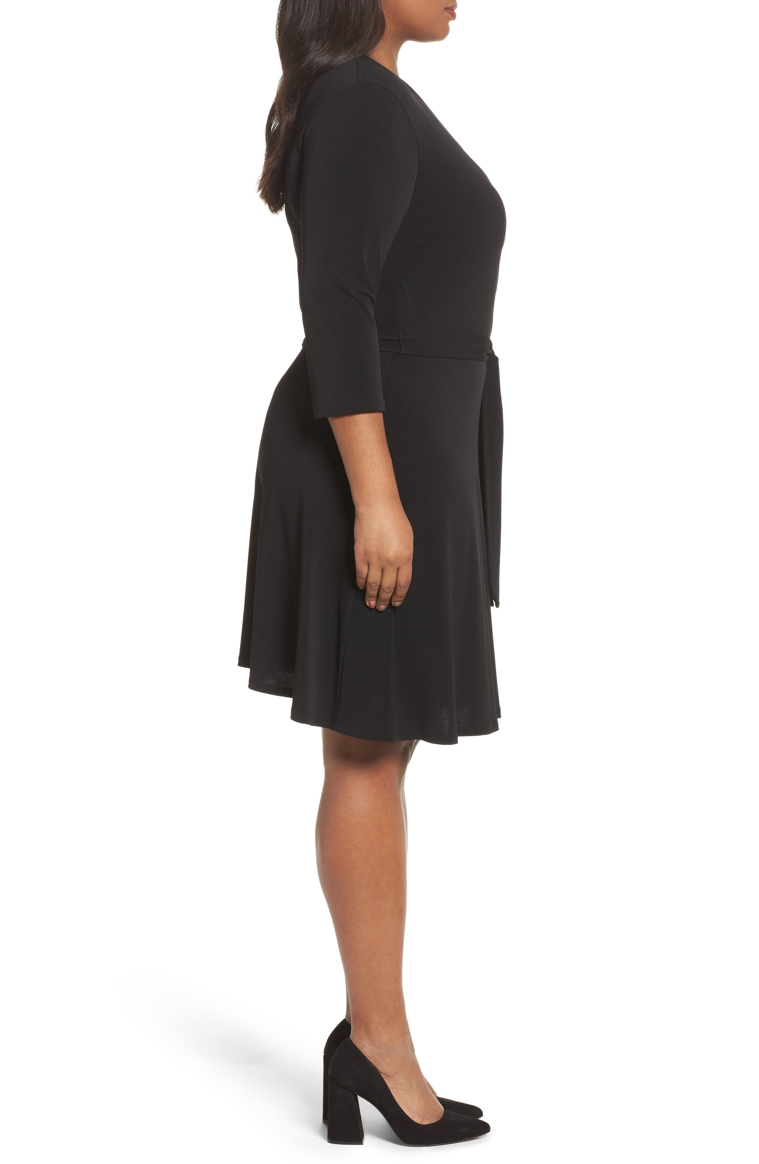 Wrap Dress,                             Alternate thumbnail 3, color,                             Black Crepe