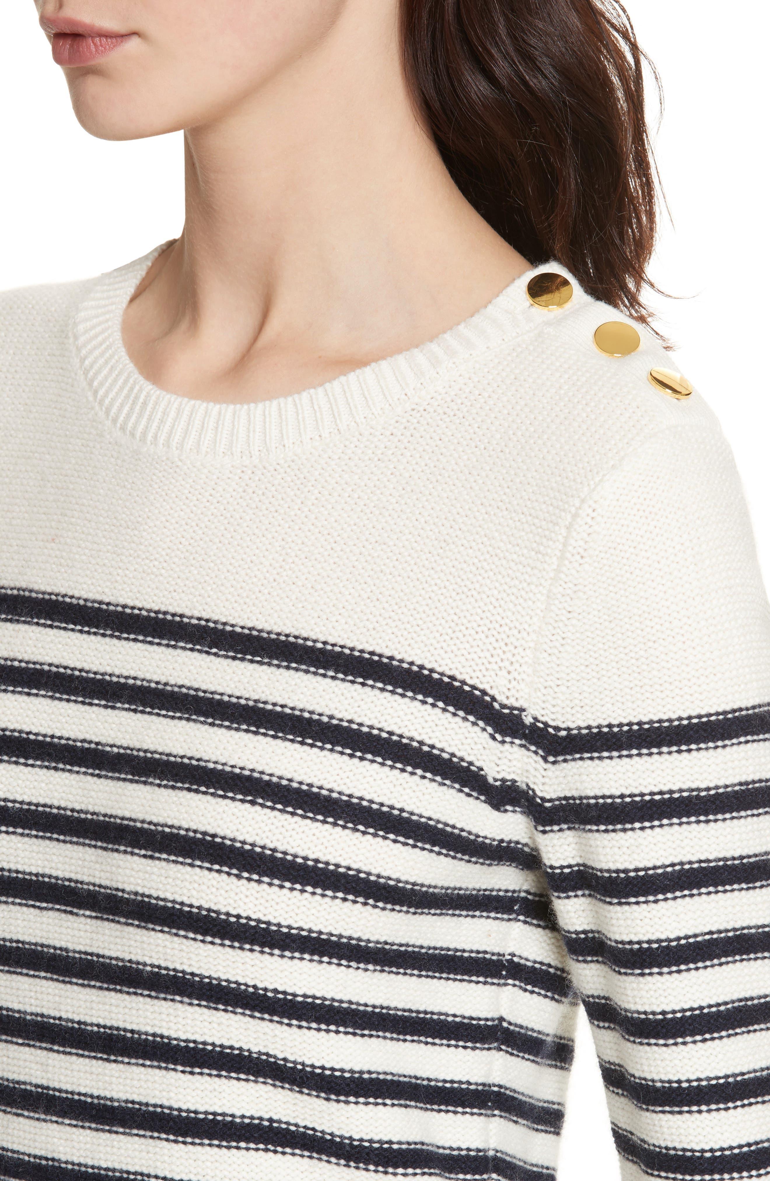 navy stripe peplum sweater,                             Alternate thumbnail 4, color,                             Cream/ Rich Navy