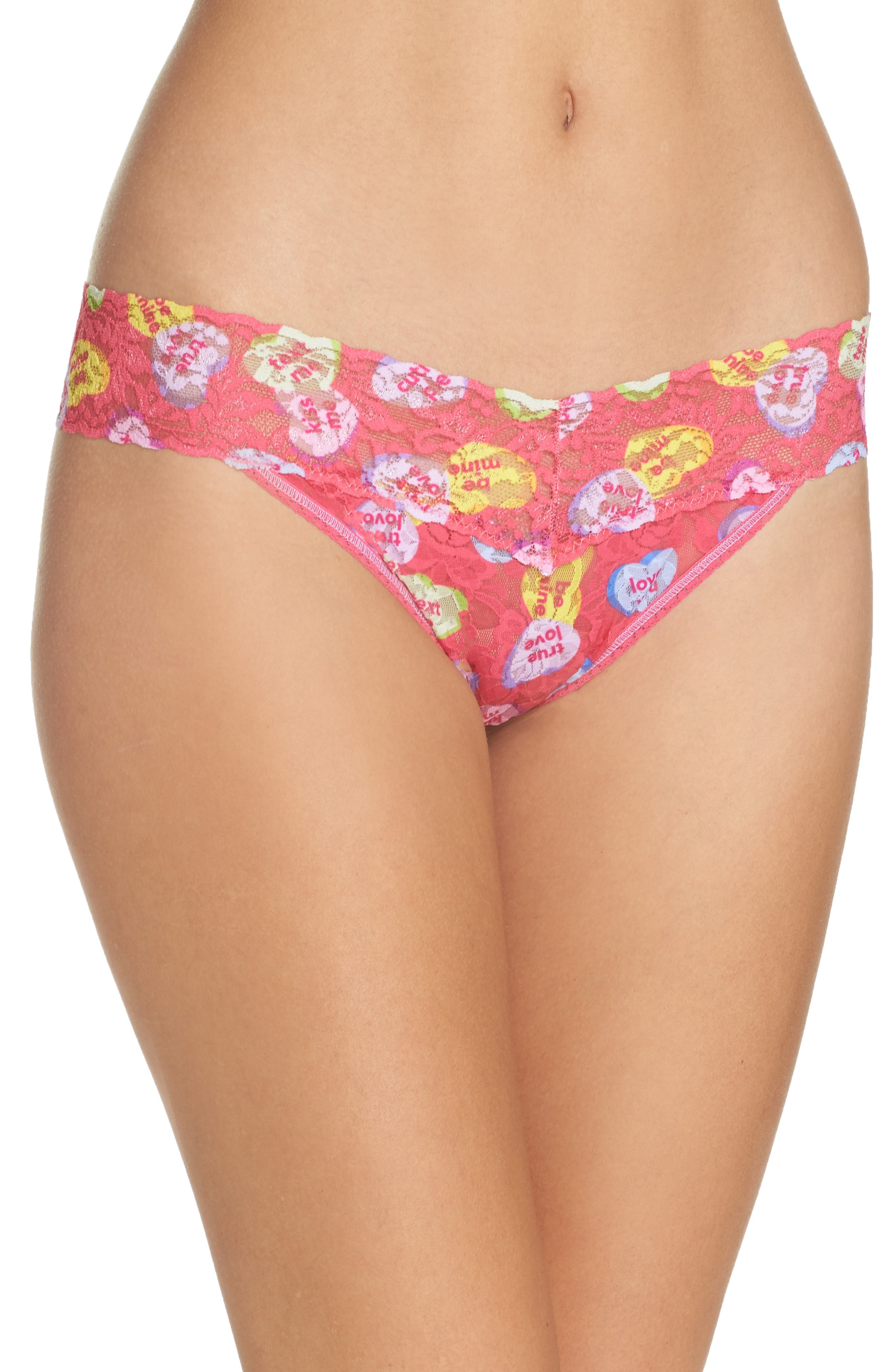 Valentines Original Rise Thong,                         Main,                         color, Pink Candy Hearts