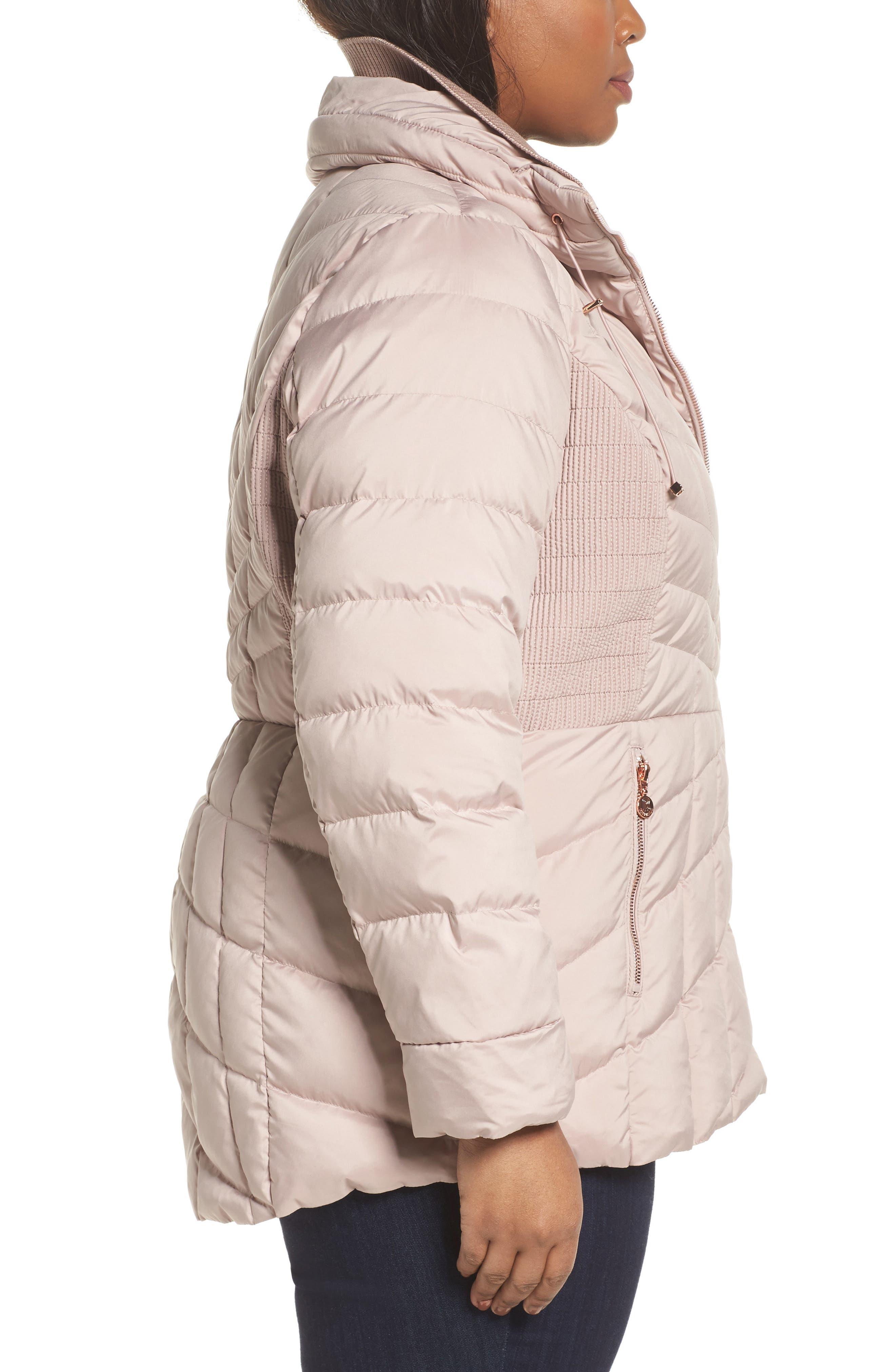 Packable Water Resistant Down & PrimaLoft<sup>®</sup> Coat,                             Alternate thumbnail 3, color,                             Petal Pink/ Snow Leopard