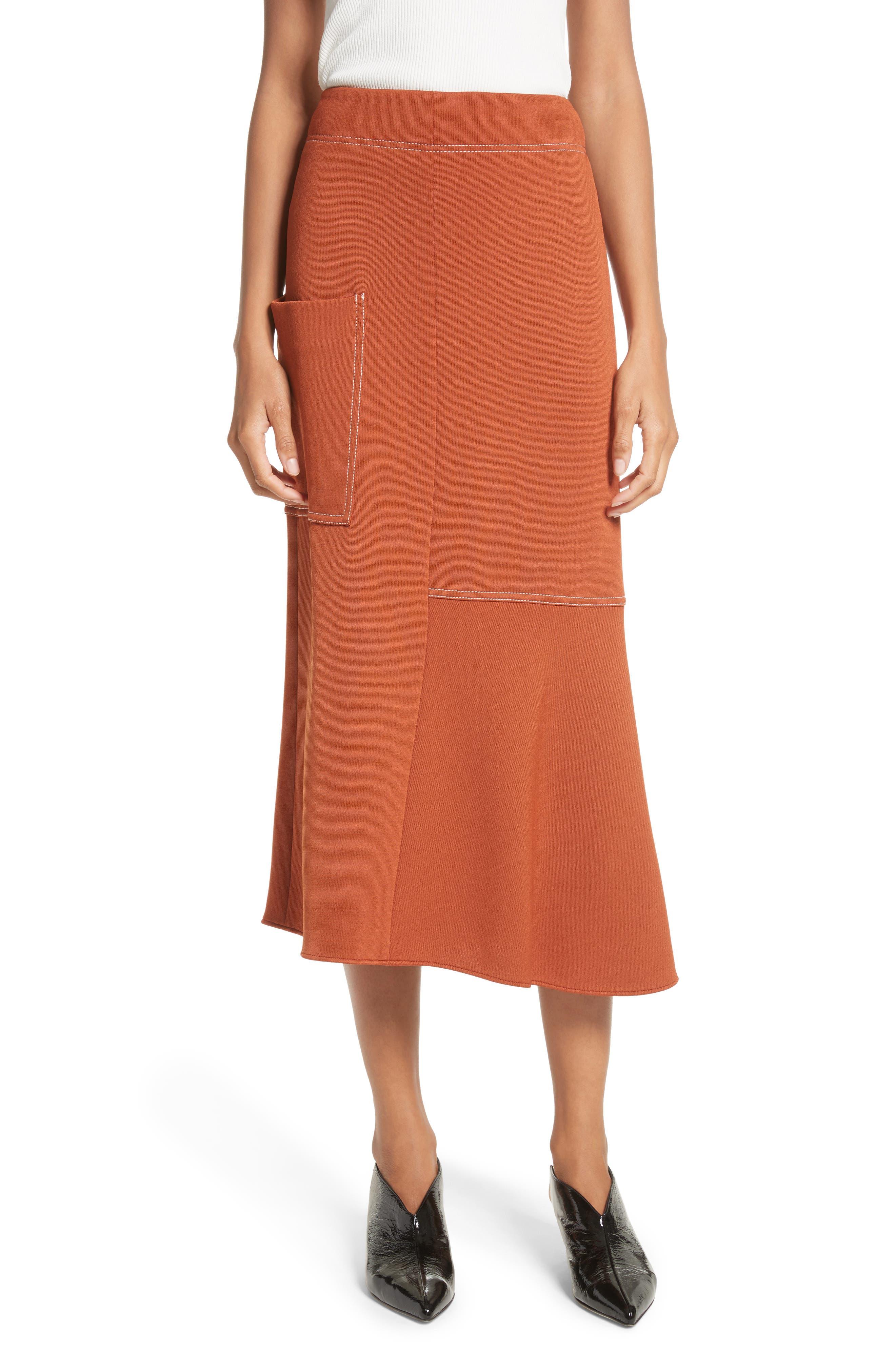 Tibi Crepe Knit Midi Skirt