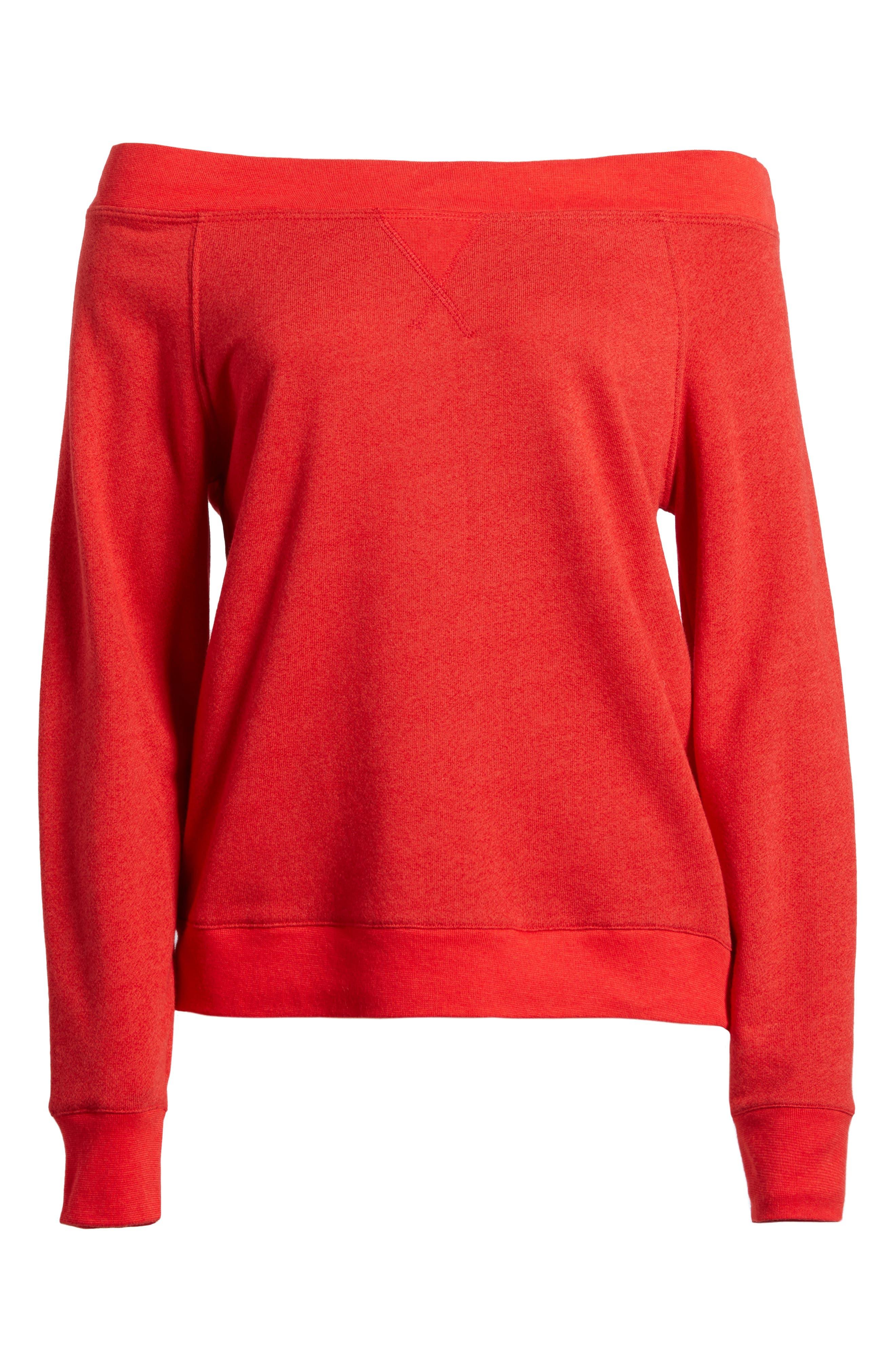 Off the Shoulder Sweatshirt,                             Alternate thumbnail 6, color,                             Red Barbados