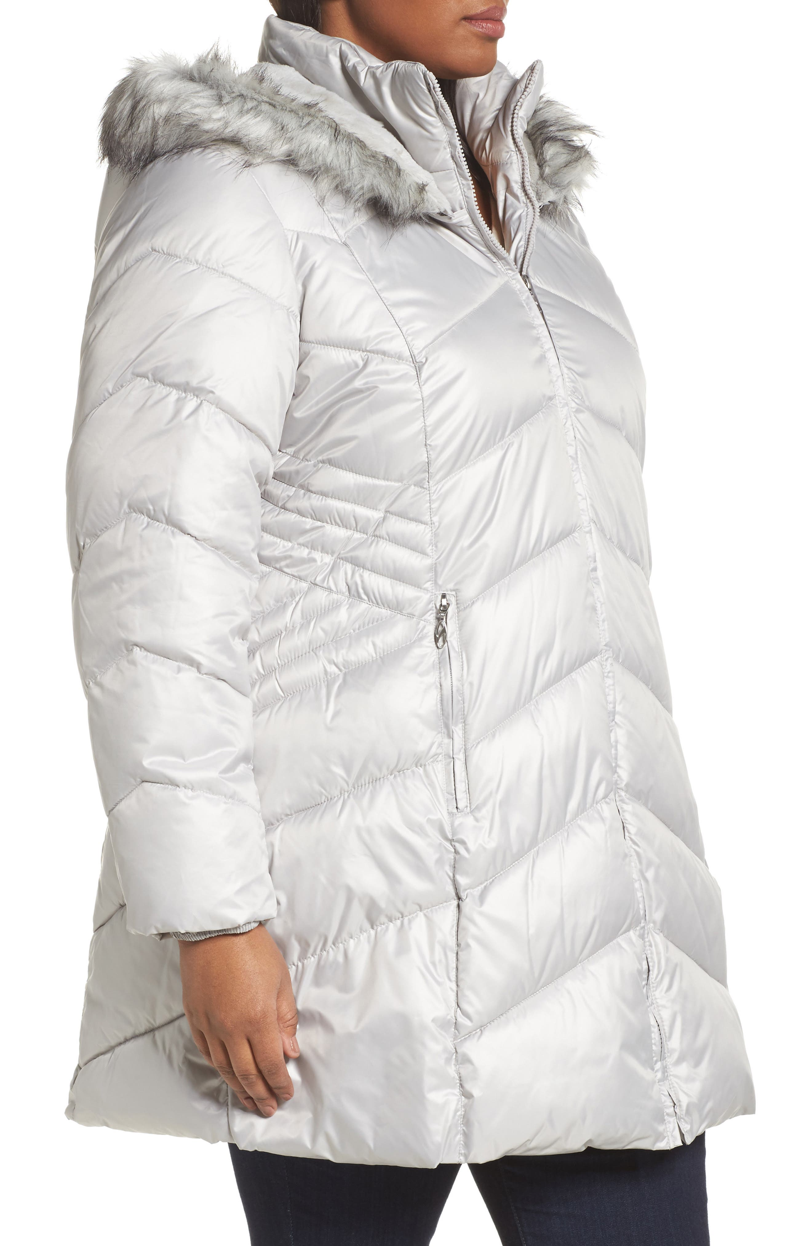 Faux Fur Trim Quilted Parka,                             Alternate thumbnail 3, color,                             Pearl