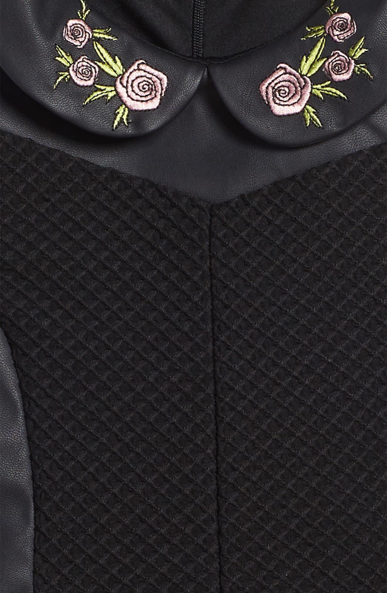 Faux Leather Skater Dress,                             Alternate thumbnail 3, color,                             Black