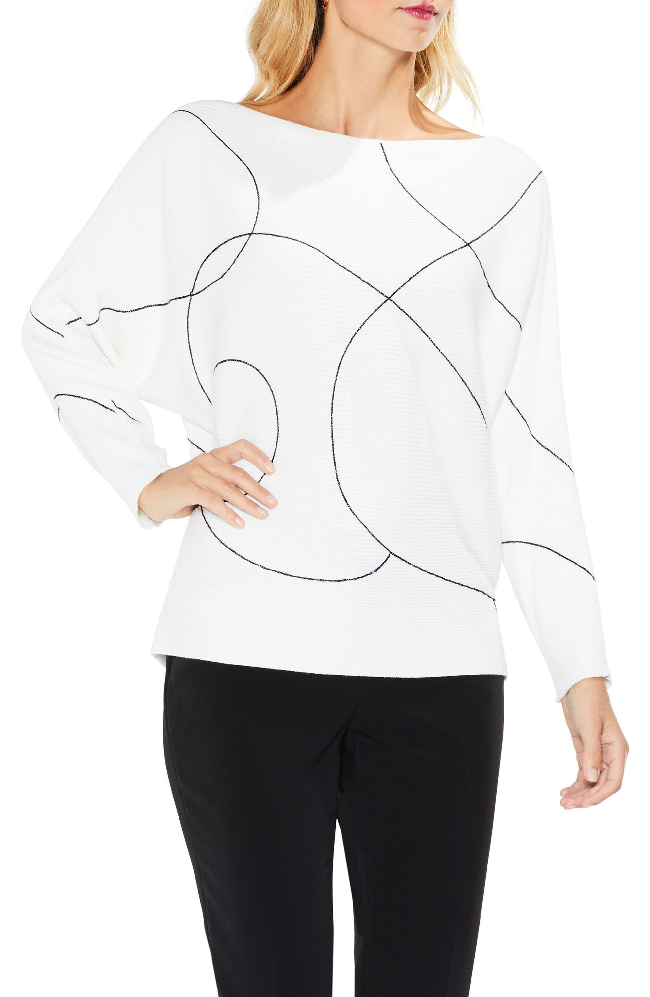Alternate Image 1 Selected - Vince Camuto Ink Swirl Ribbed Sweater (Regular & Petite)