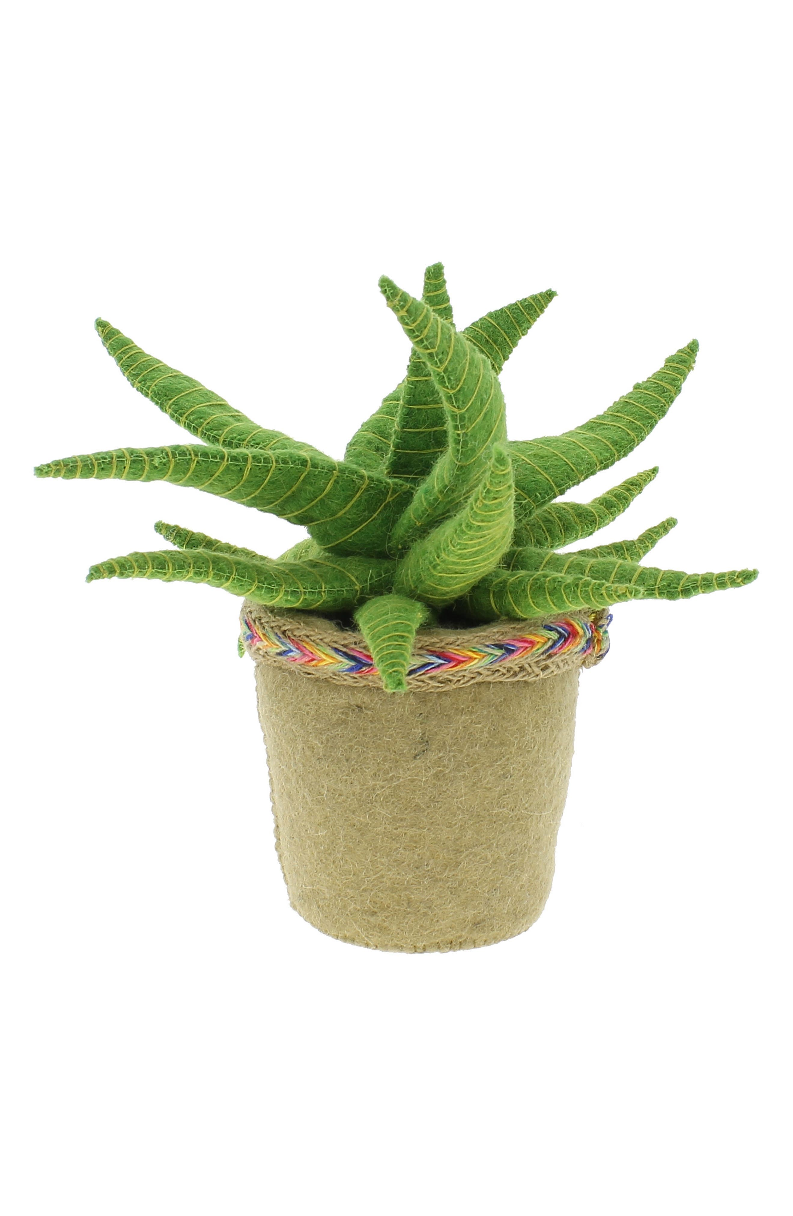 Stuffed Aloe Vera Cactus Weighted Bookend,                         Main,                         color, Green