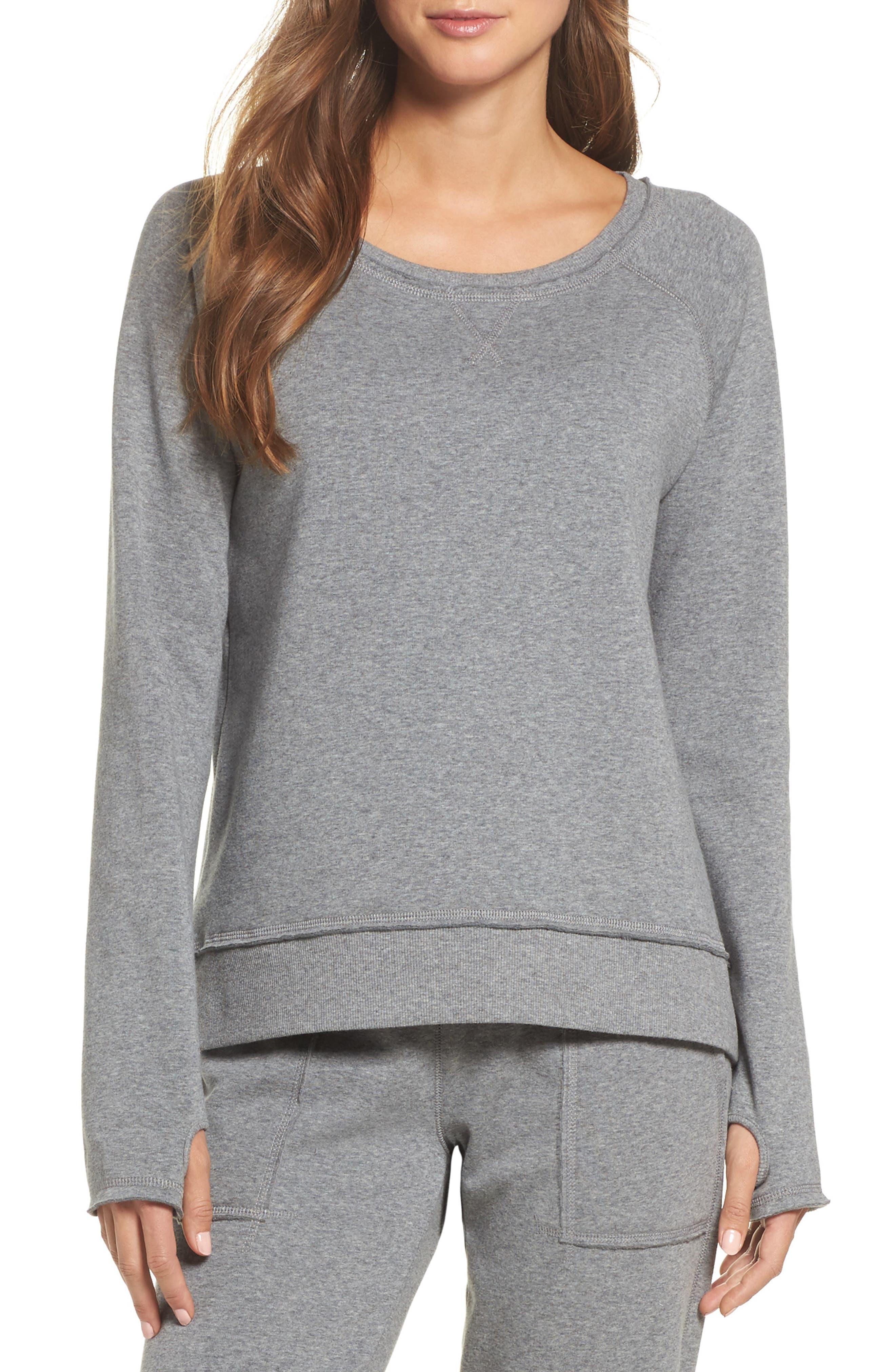 Fleece Sweatshirt,                         Main,                         color, Heather Grey