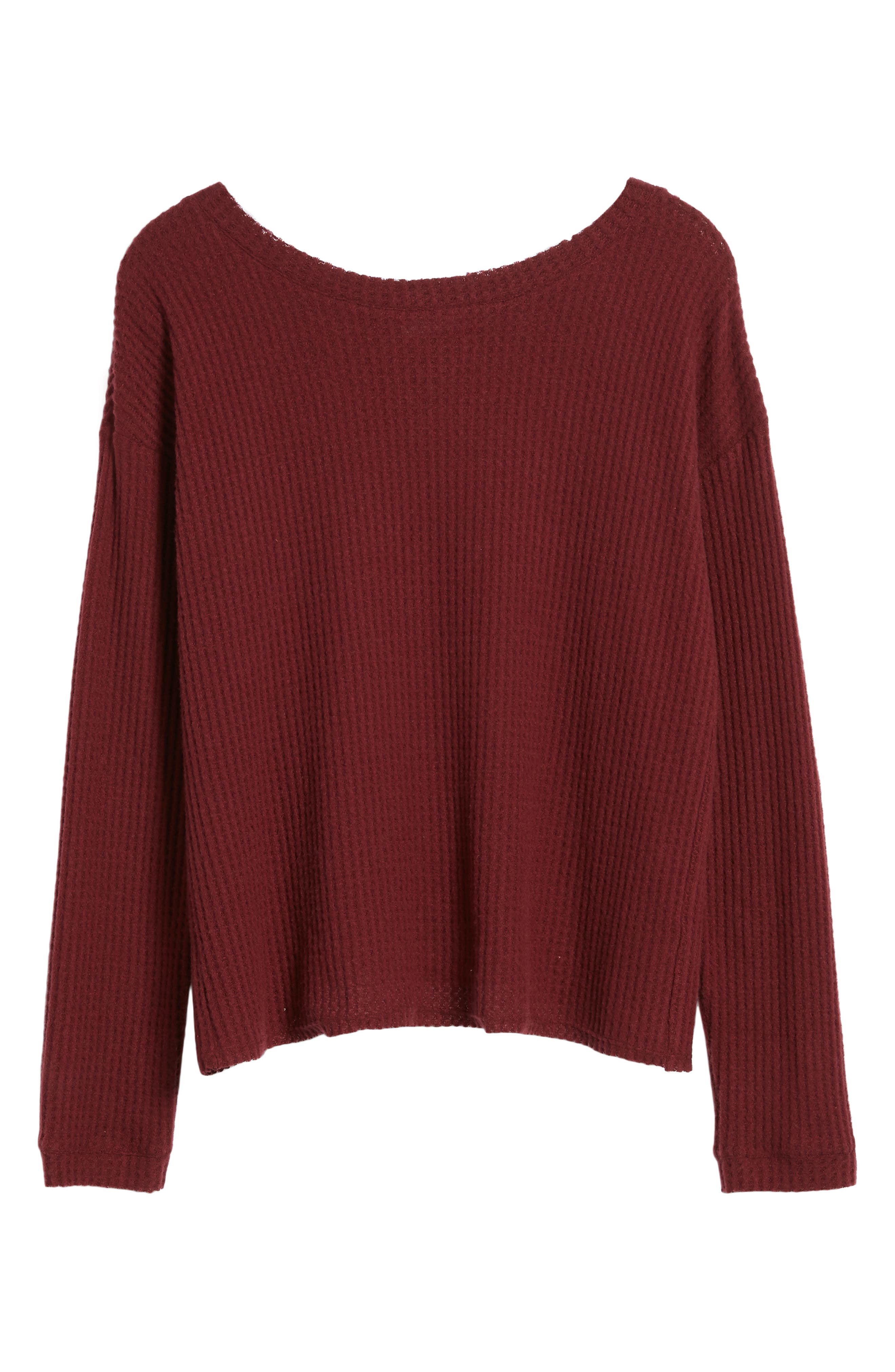 Waffle Knit Top,                             Alternate thumbnail 6, color,                             Red Cordov