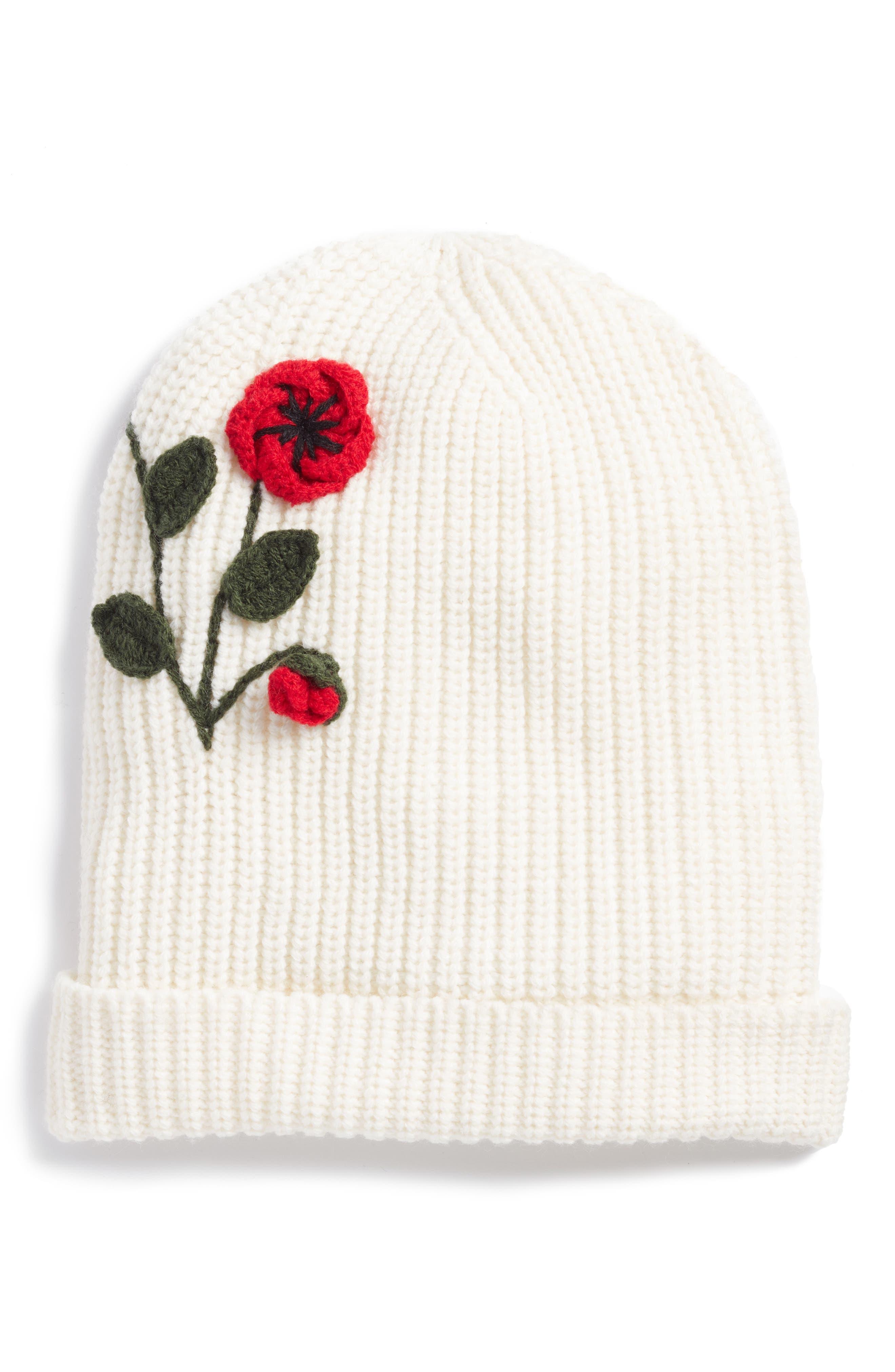 crochet poppy beanie,                             Main thumbnail 1, color,                             Cream