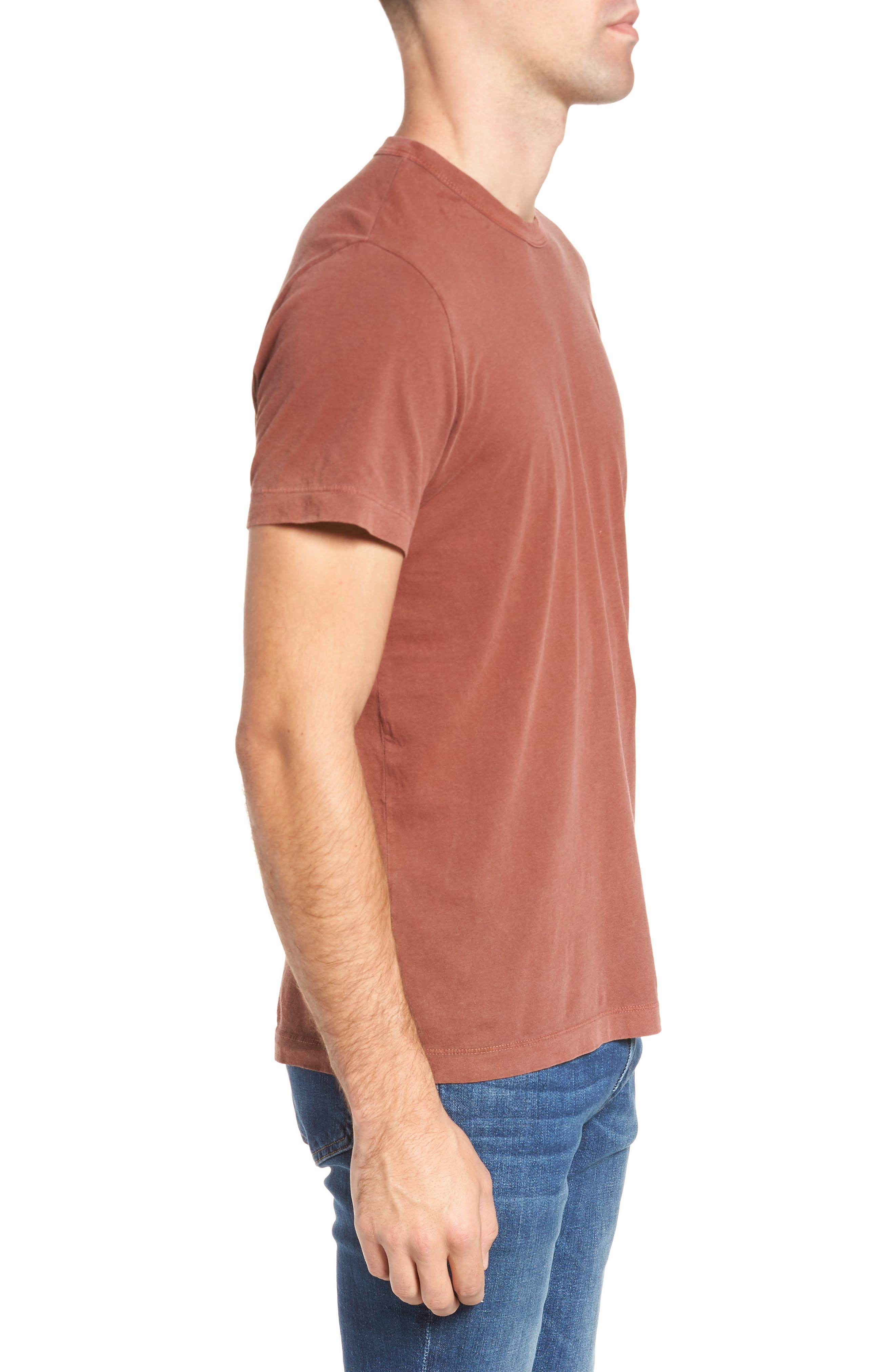 Crewneck Jersey T-Shirt,                             Alternate thumbnail 3, color,                             Red Clay