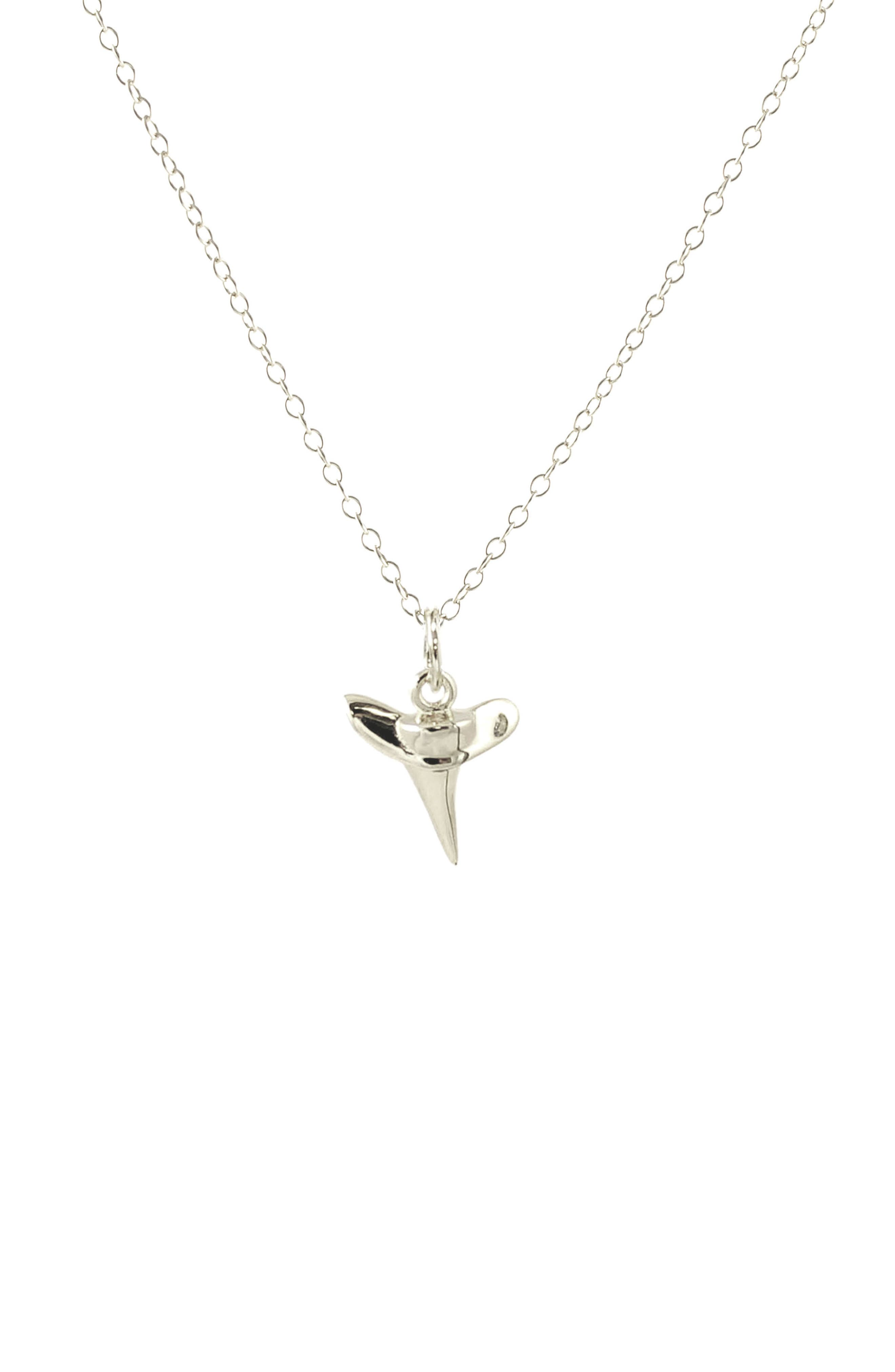 Shark Tooth Pendant Necklace,                             Main thumbnail 1, color,                             Silver