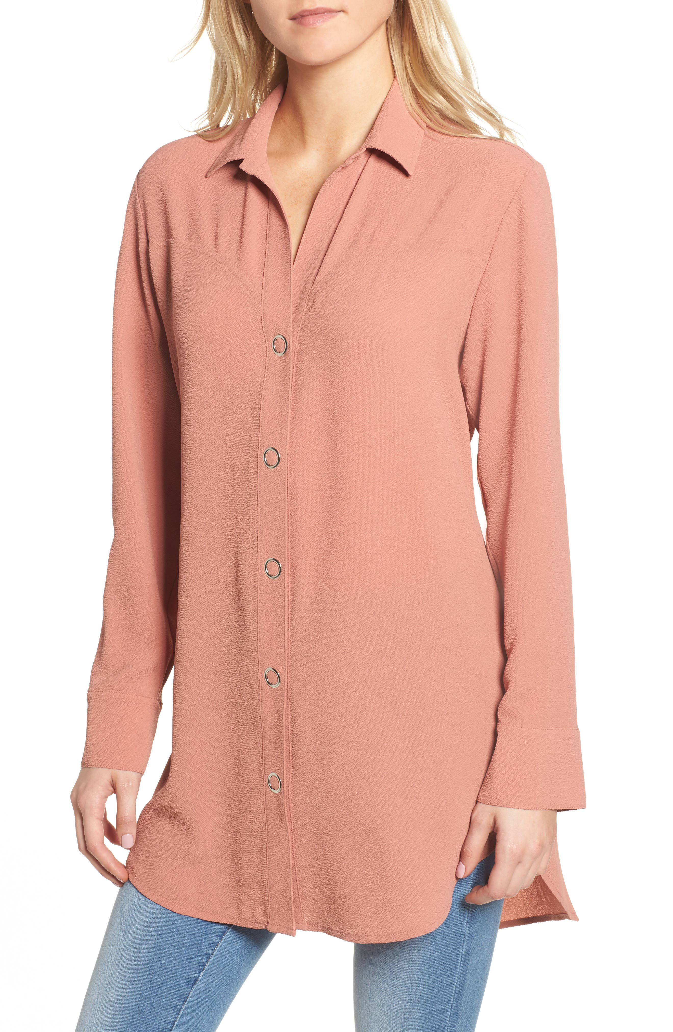 Snap Front Tunic,                         Main,                         color, Coral Cedar