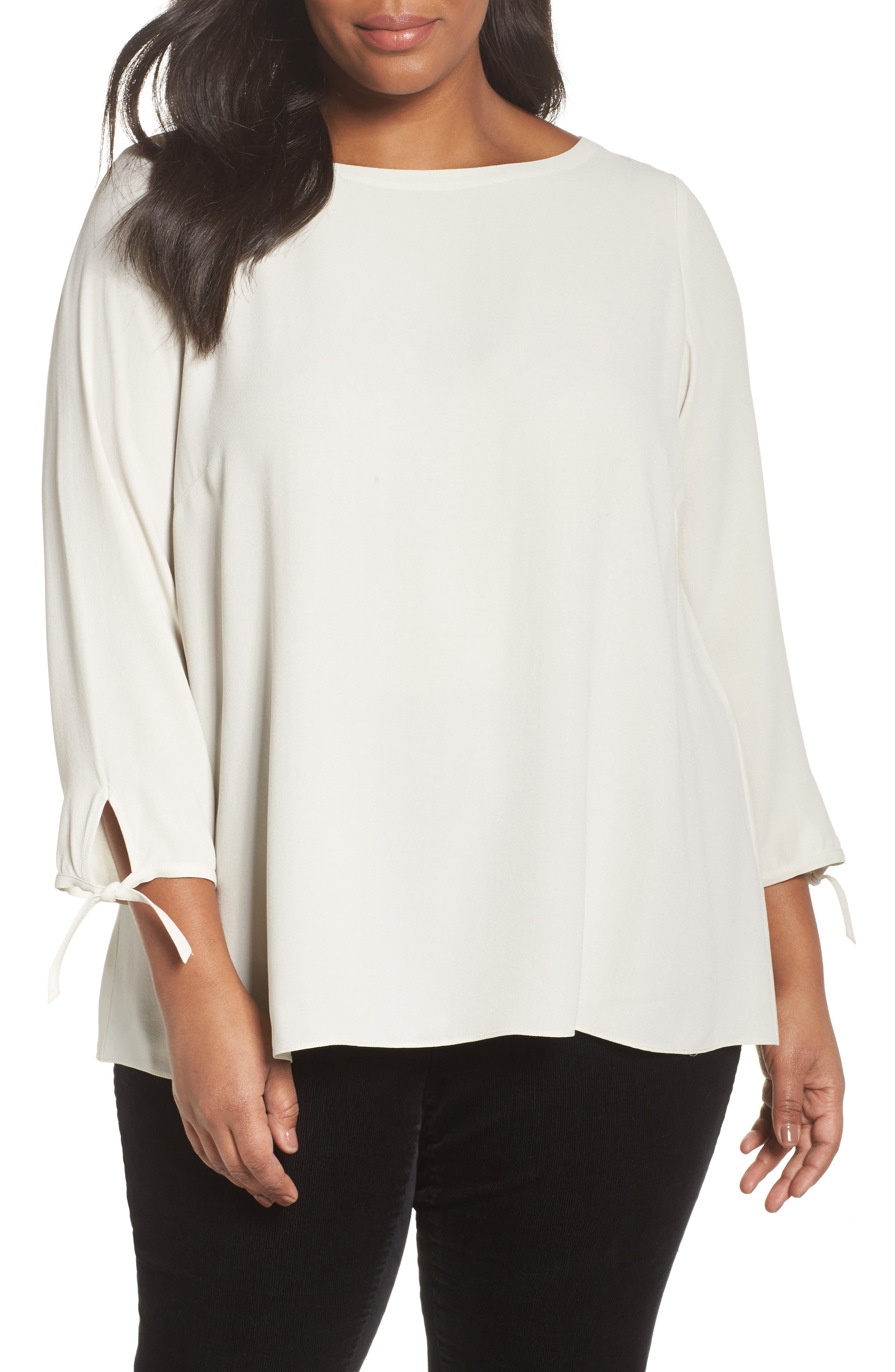 Main Image - Eileen Fisher Silk Tie Sleeve Blouse (Plus Size)