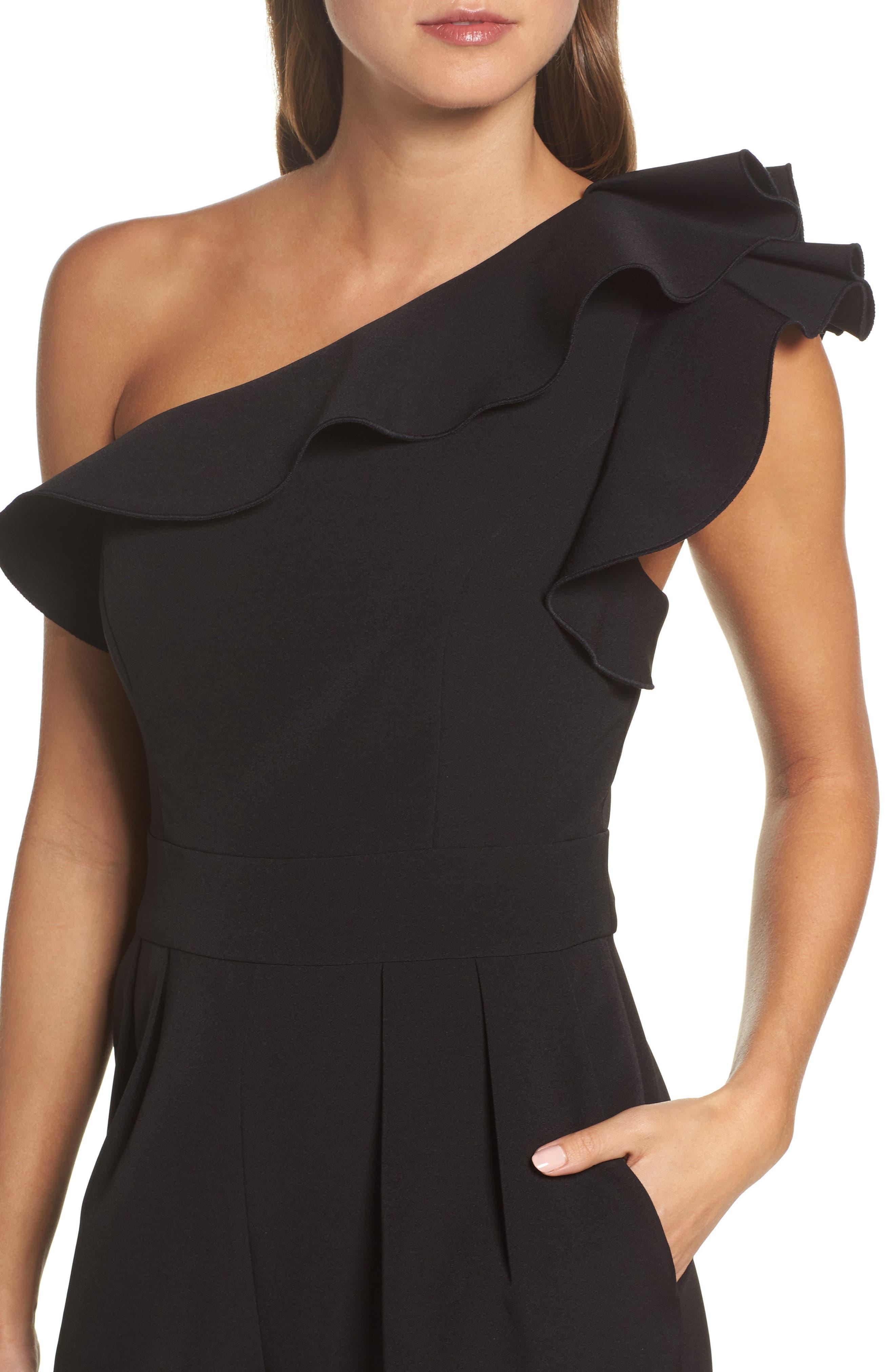 One-Shoulder Ruffle Jumpsuit,                             Alternate thumbnail 4, color,                             Black