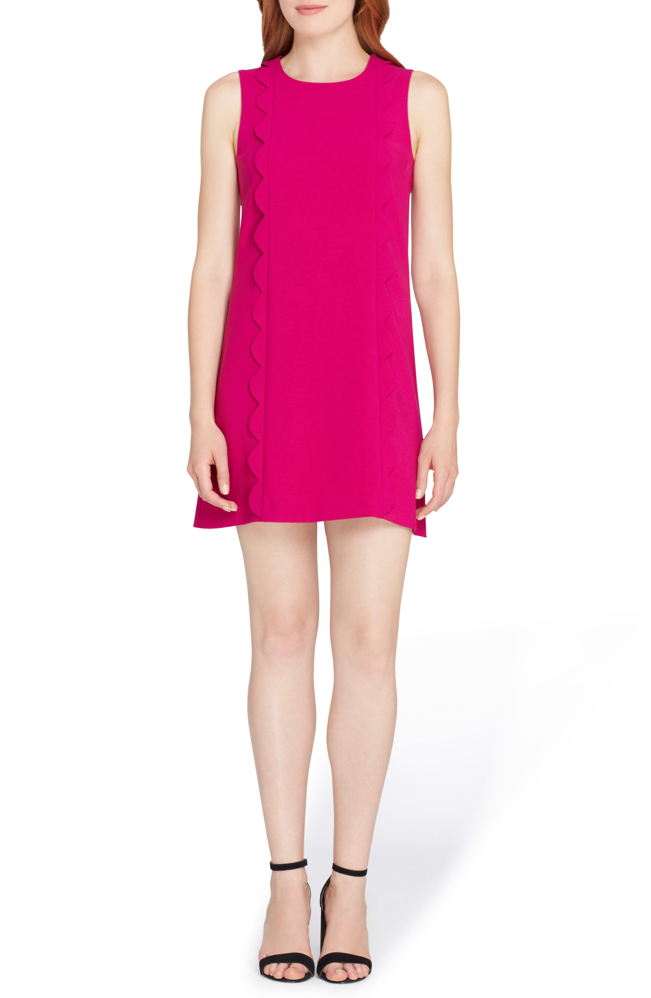 Scallop Detail Shift Dress,                         Main,                         color, Magenta