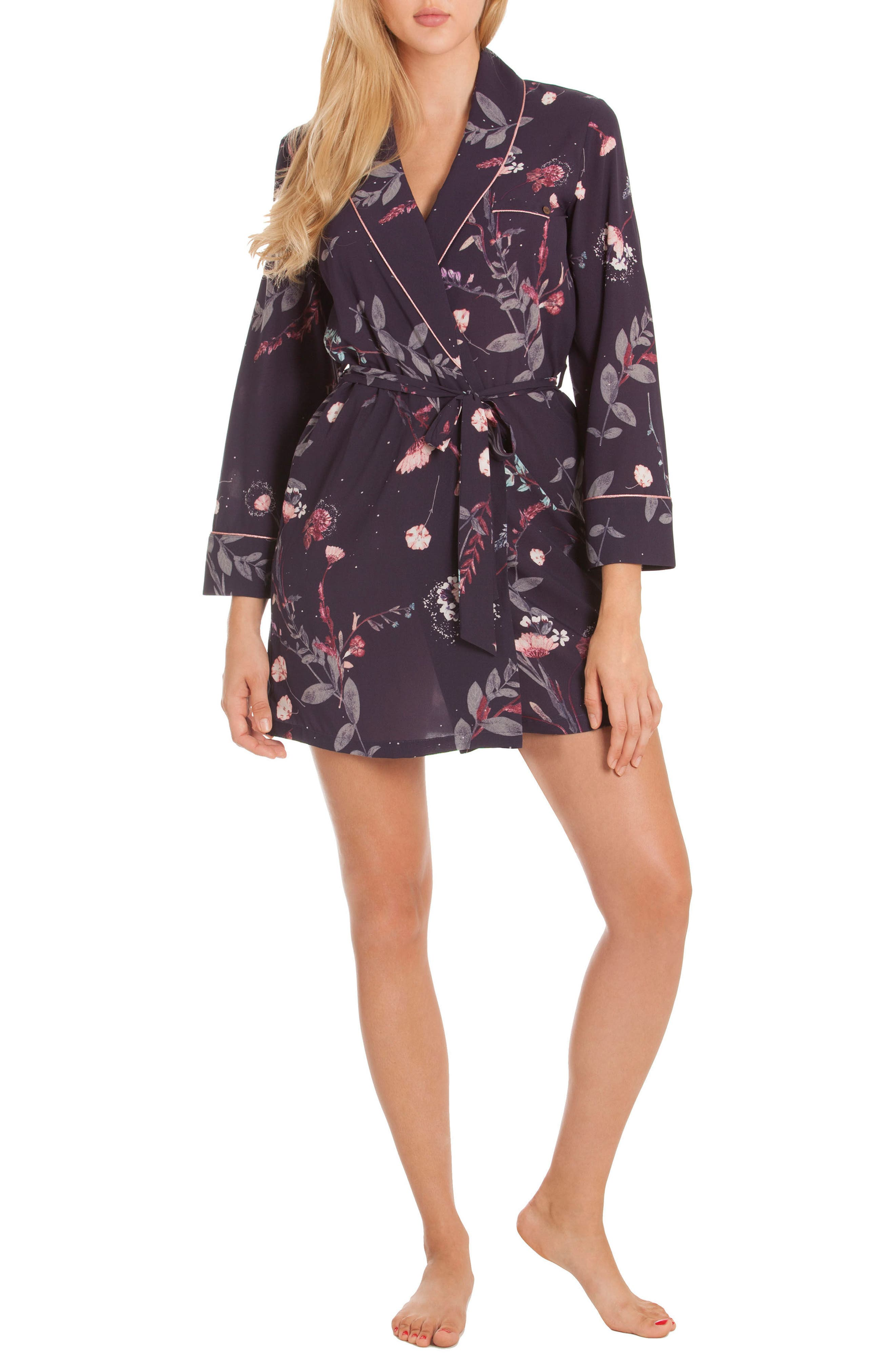 Print Short Robe,                             Alternate thumbnail 4, color,                             Meadow
