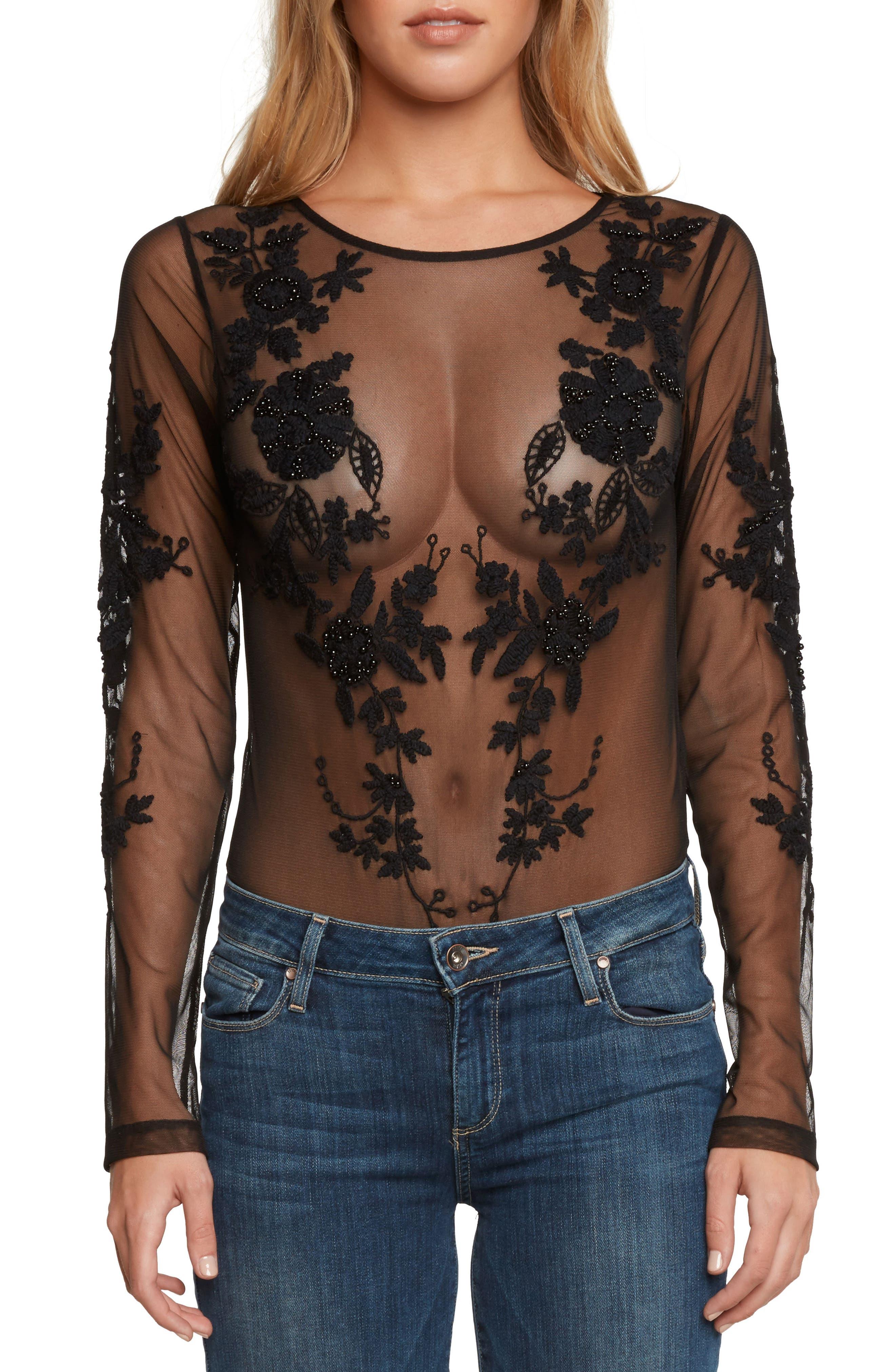 Embellished Mesh Bodysuit,                         Main,                         color, Black