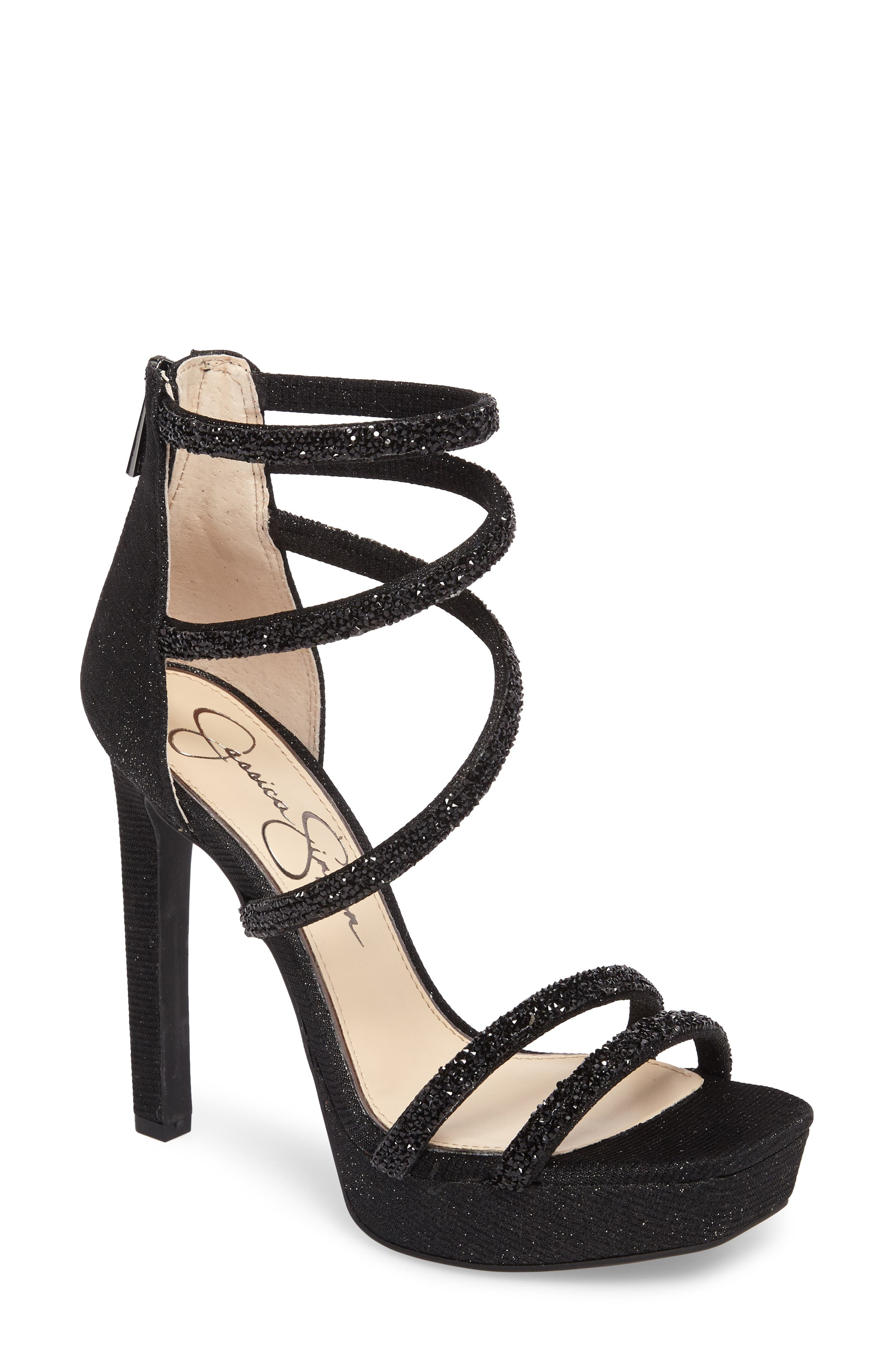 Jessica Beyonah Strappy Platform Sandal,                         Main,                         color, Black Fabric