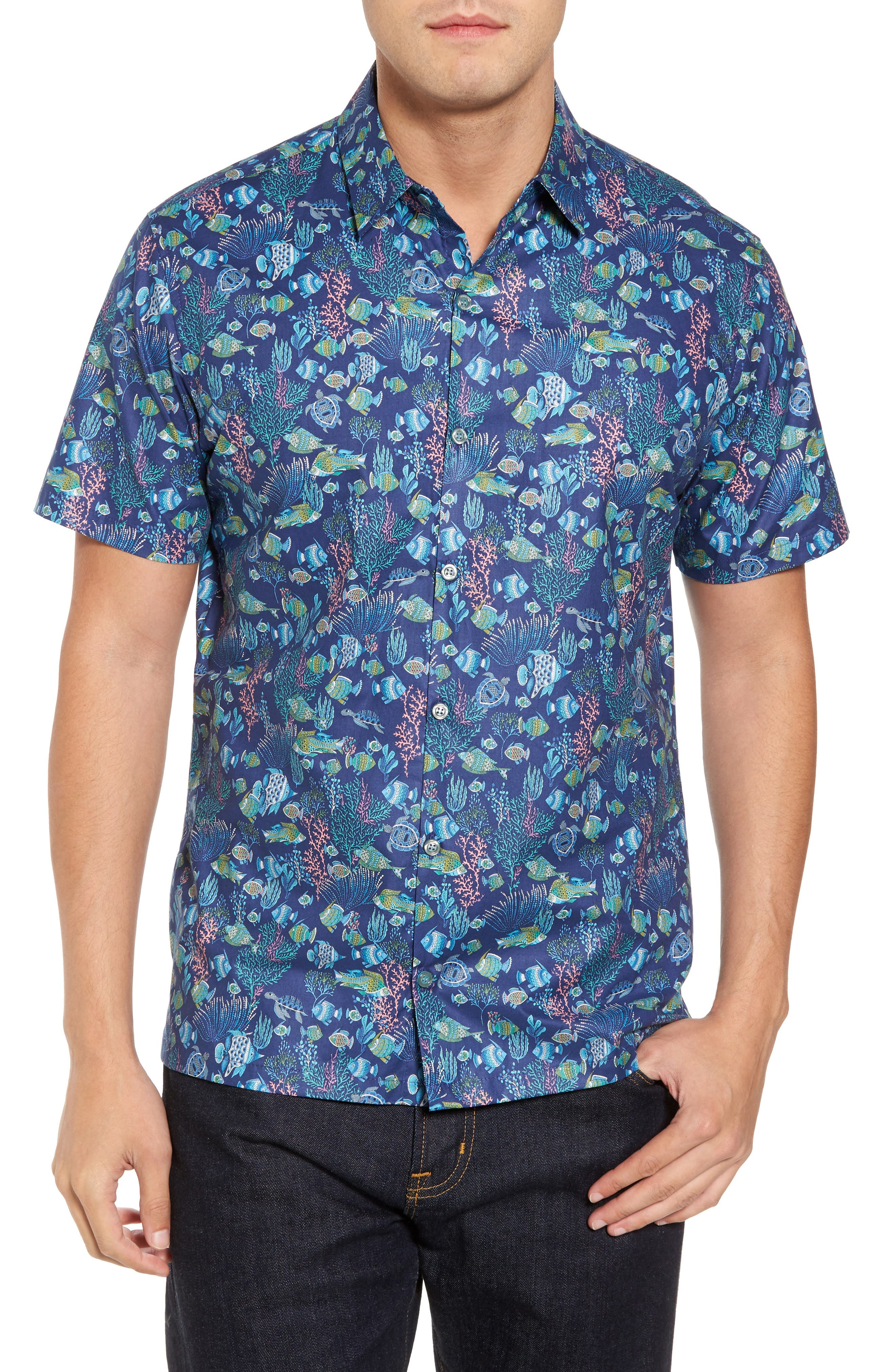 Tori Richard Aquaculture Slim Fit Camp Shirt
