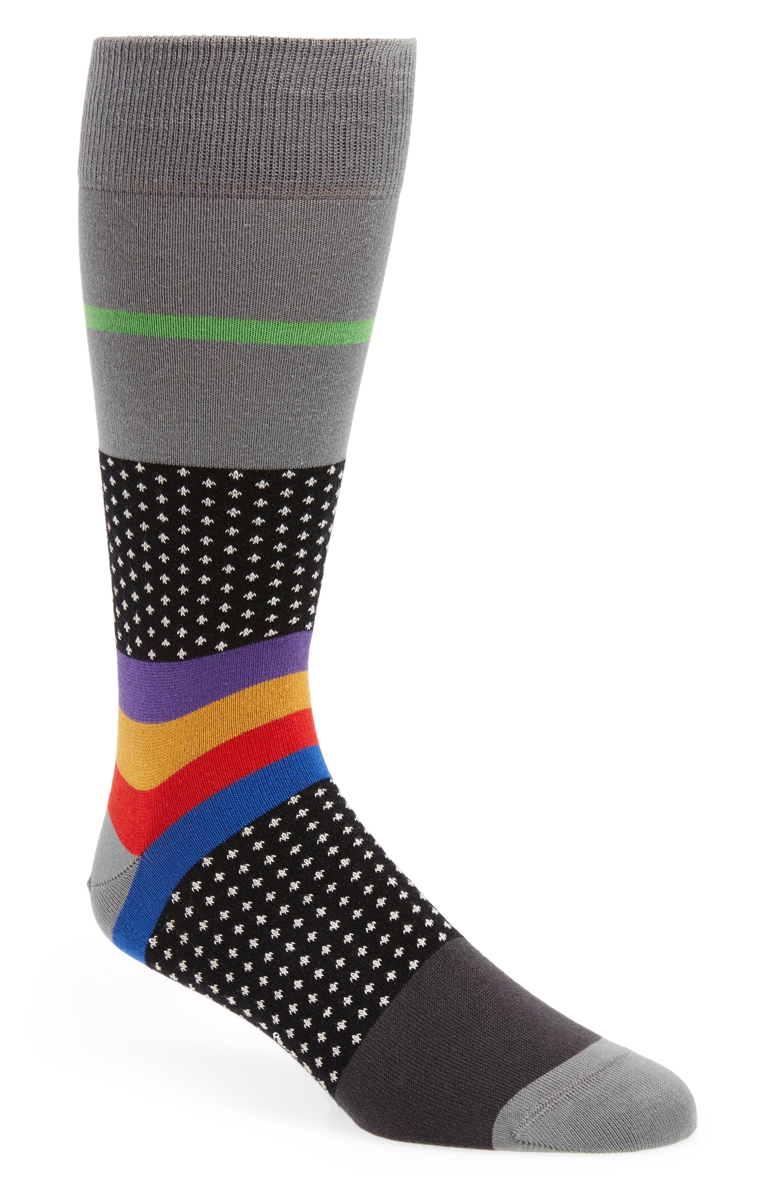 Spot Stripe Socks,                         Main,                         color, Black
