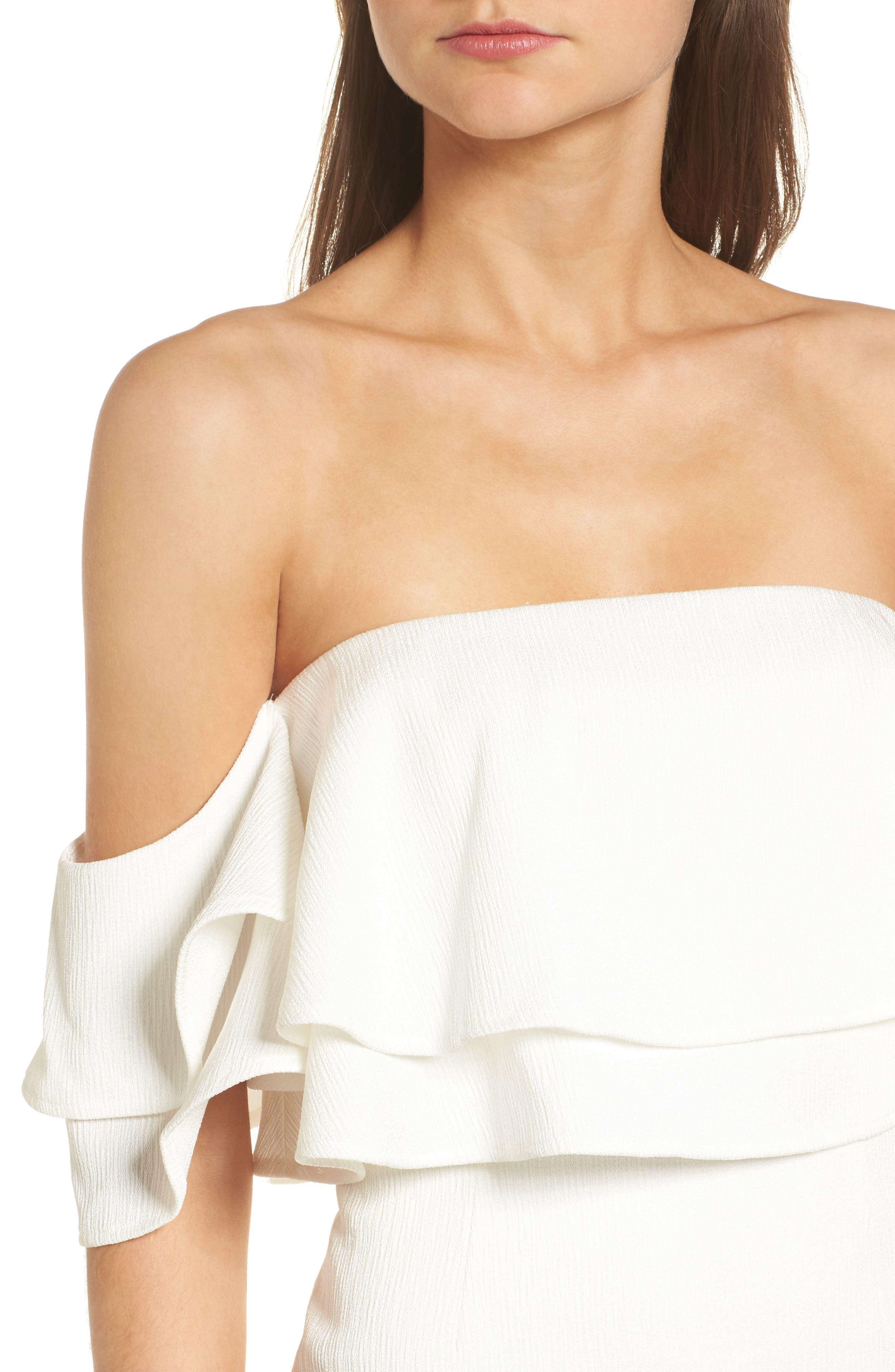 No Reason Off the Shoulder Sheath Dress,                             Alternate thumbnail 4, color,                             Ivory