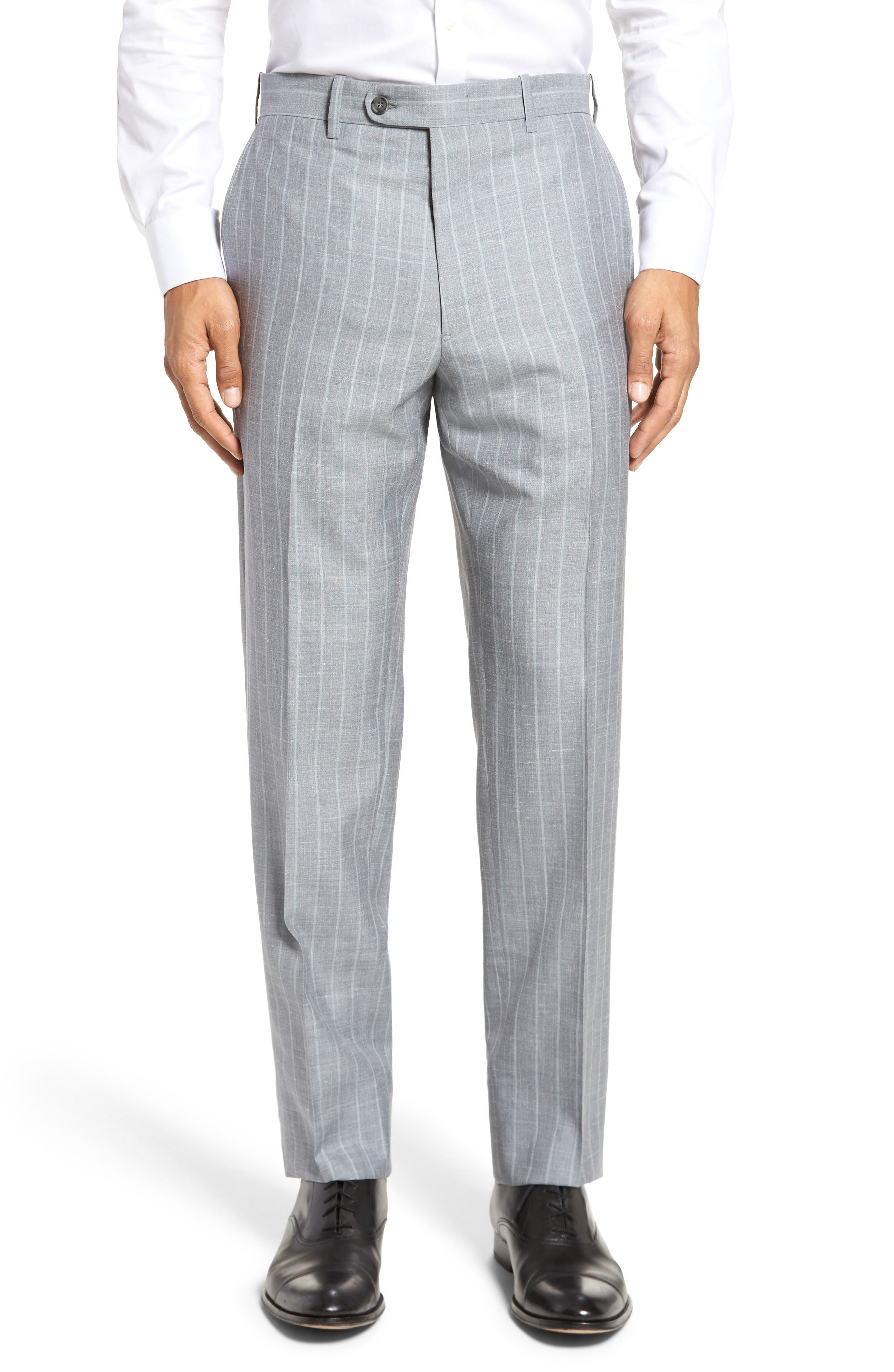JB Britches Flat Front Stripe Wool Blend Trousers