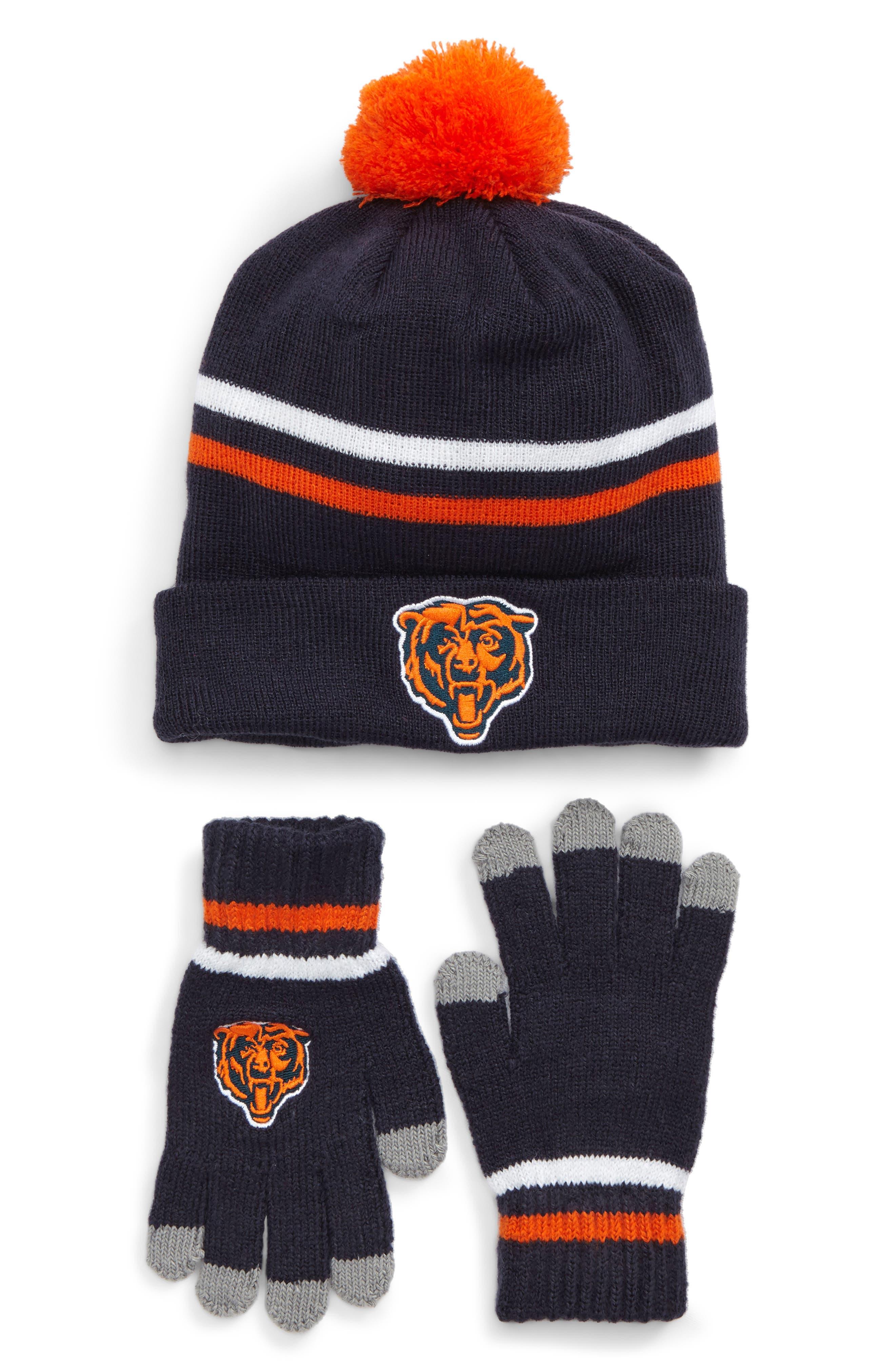 NFL Logo Pom Beanie & Tech Gloves Set,                             Main thumbnail 1, color,                             Bears