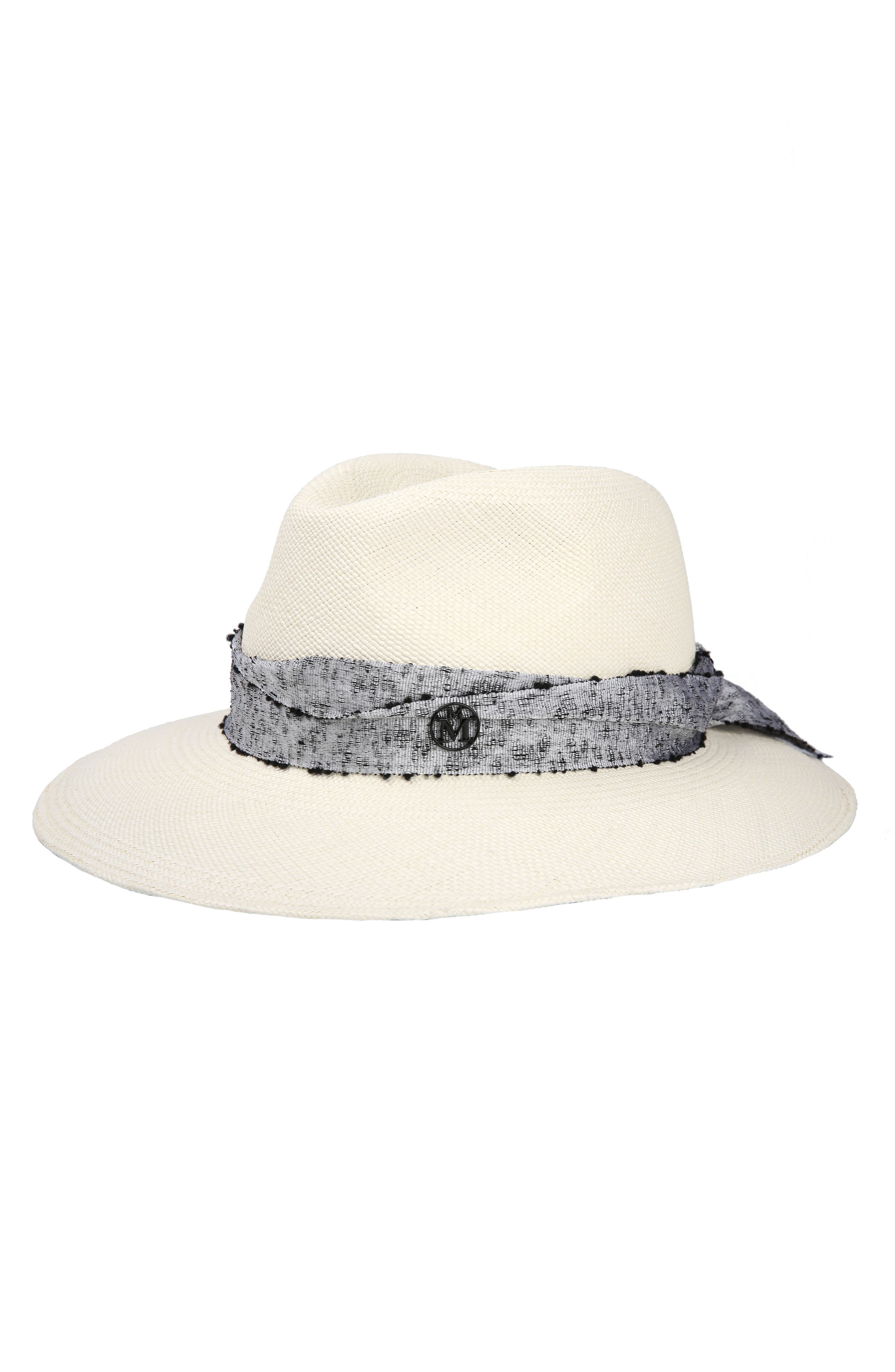 Henrietta Mottled Ribbon Hemp Hat,                         Main,                         color, Off White/ Silver