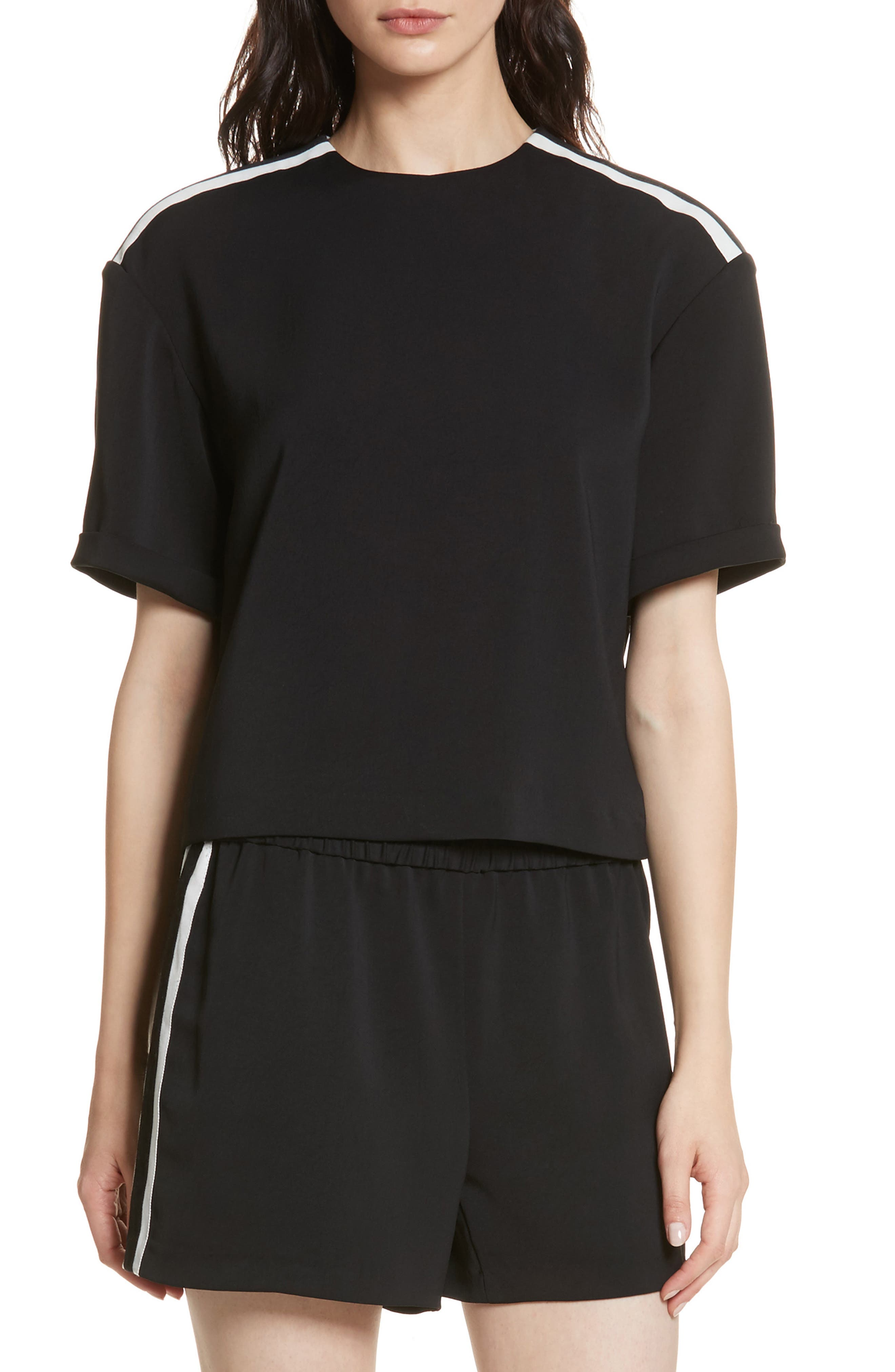 Roll Sleeve Tee,                         Main,                         color, Black/ White