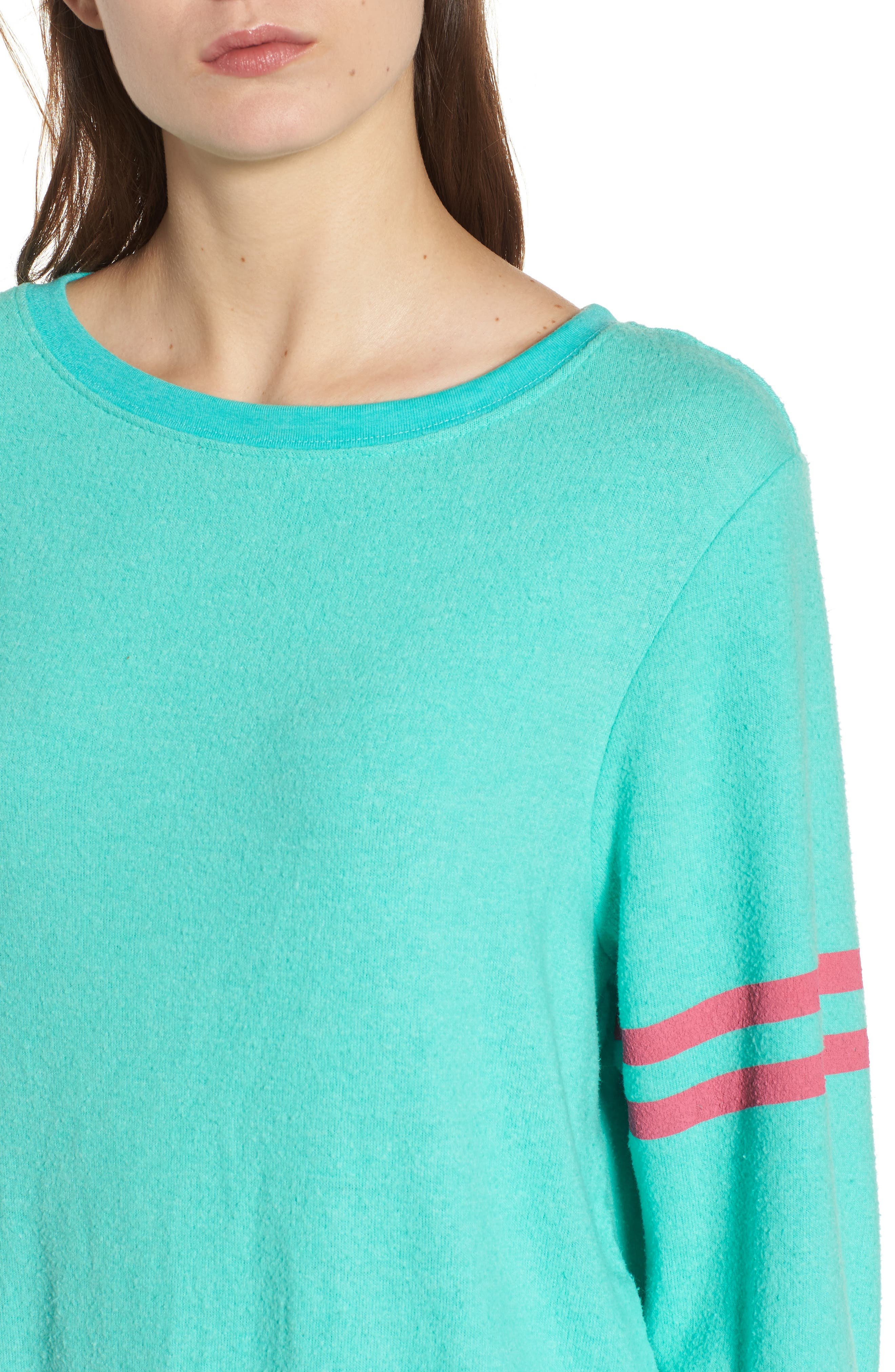 Stripe Sweatshirt,                             Alternate thumbnail 4, color,                             Mint Chip