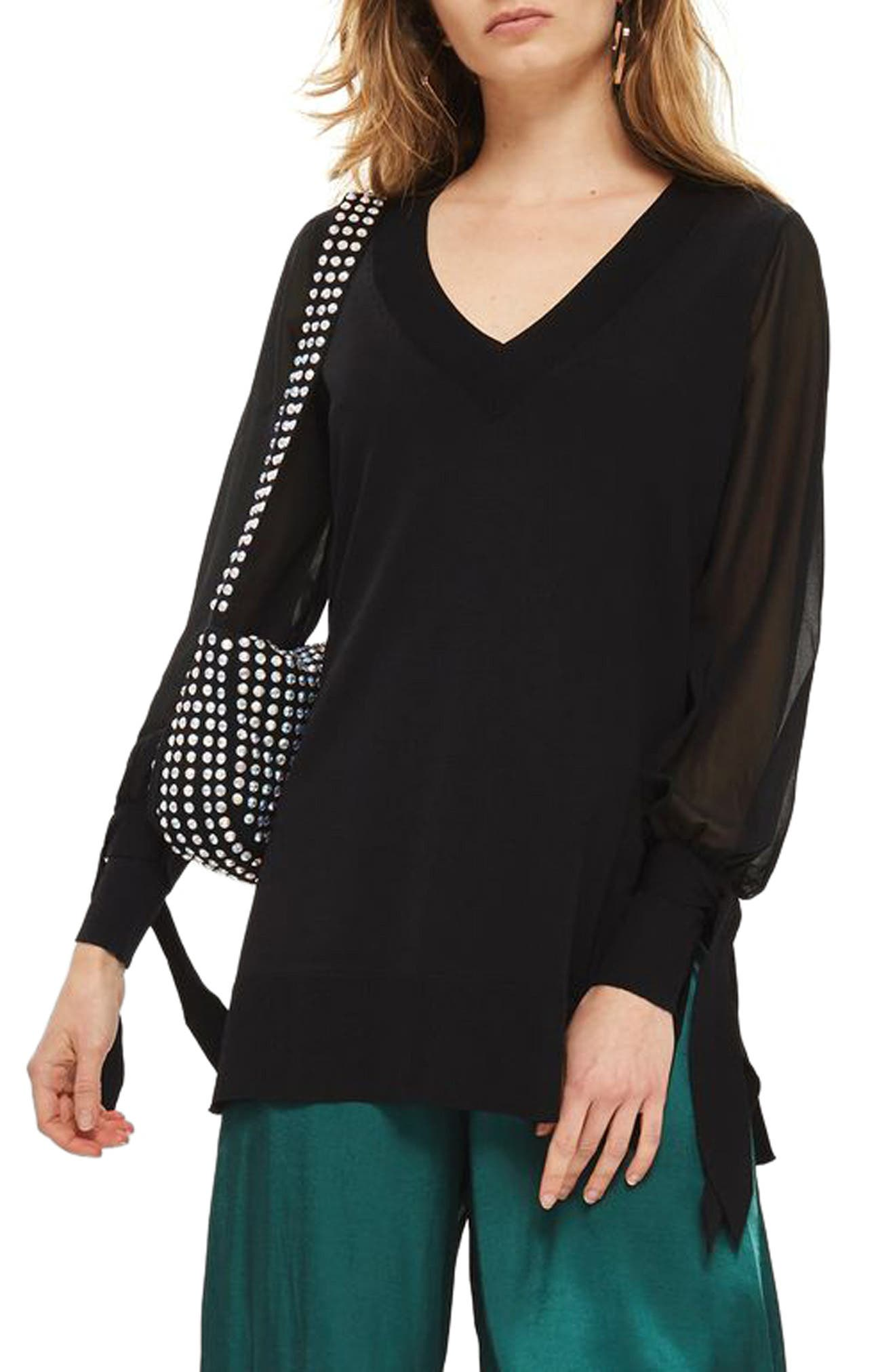 Topshop Chiffon Sleeve Longline Sweater