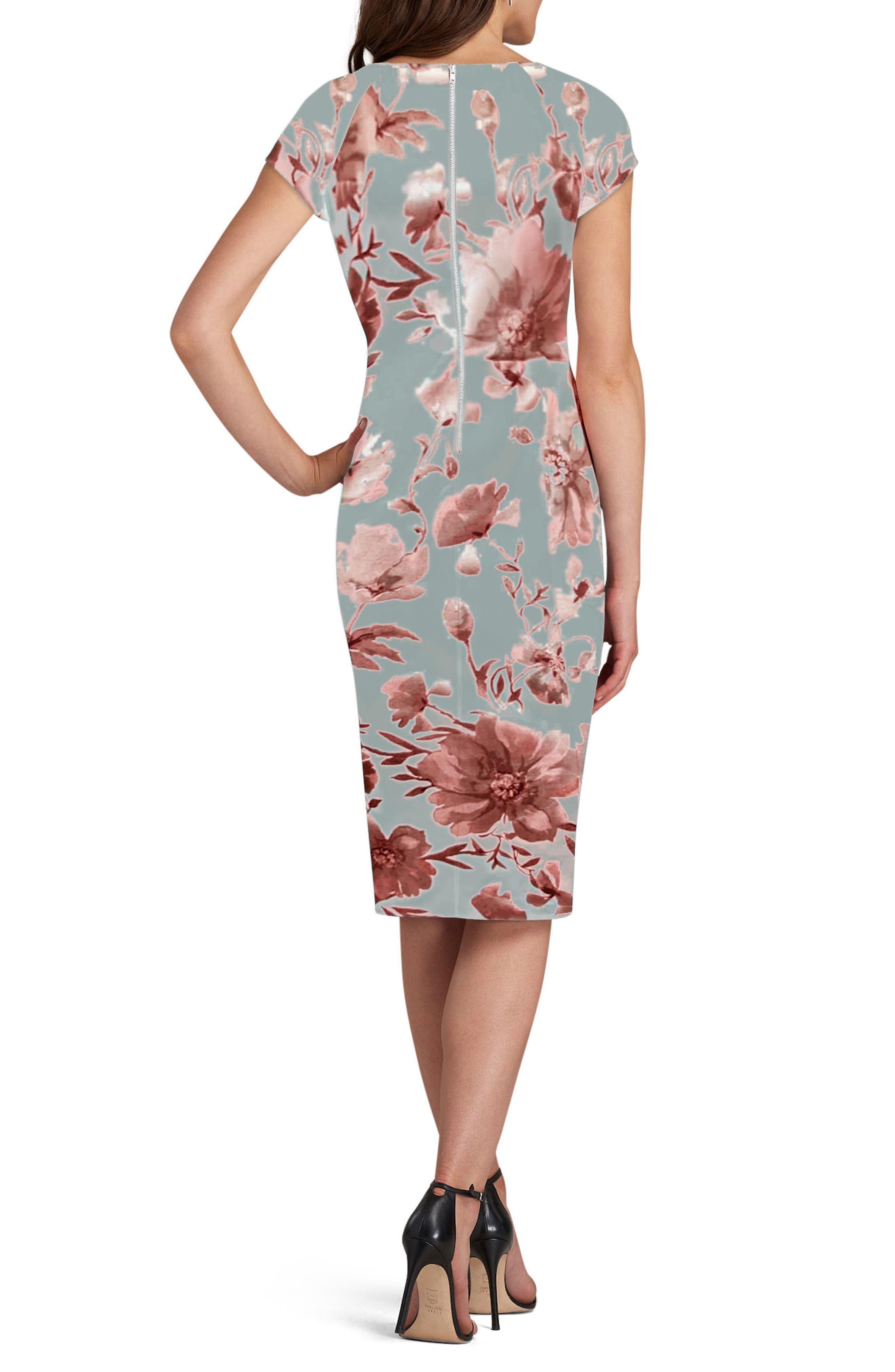 Floral Print Sheath Dress,                             Alternate thumbnail 2, color,                             Silver