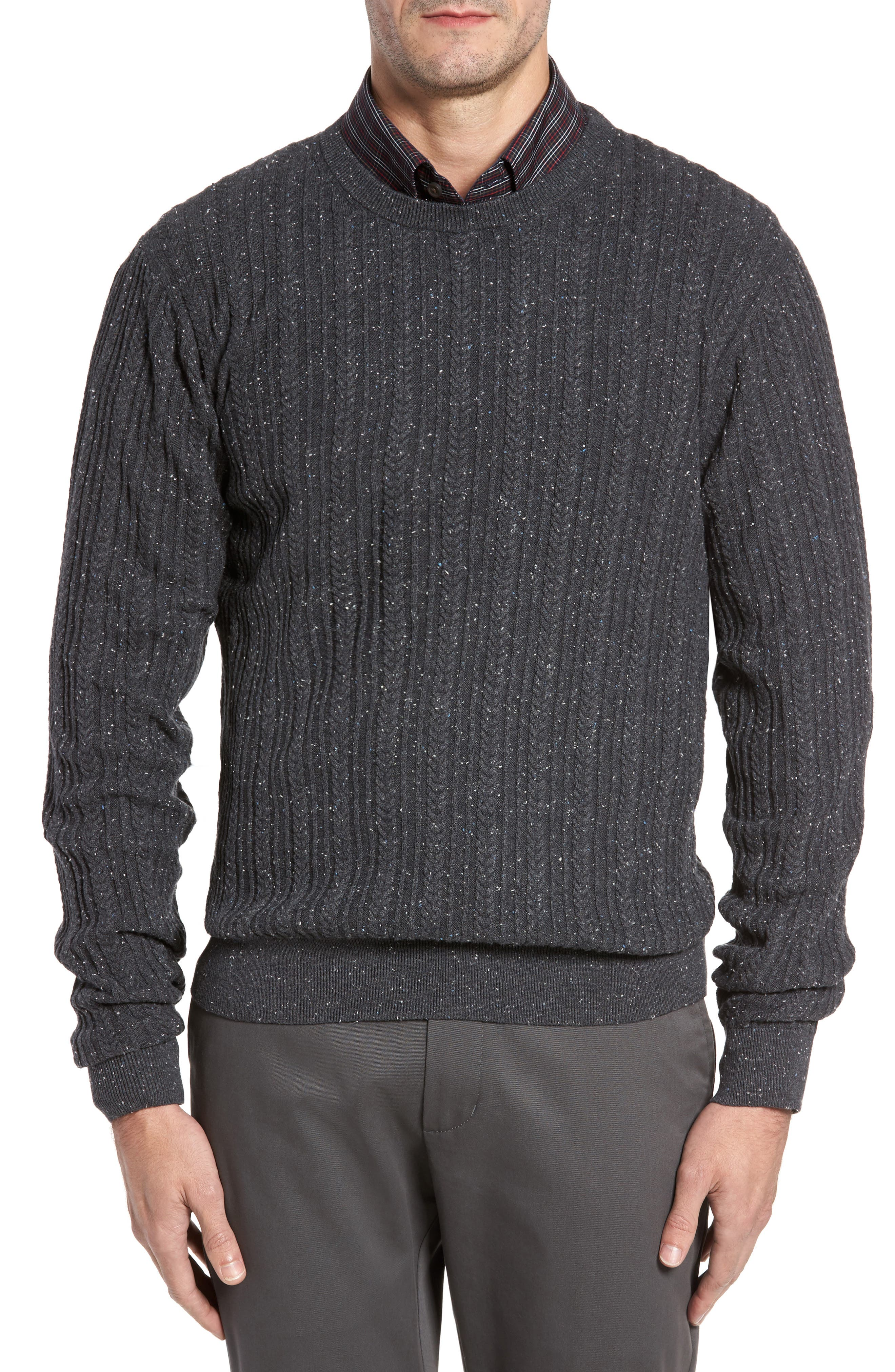 Carlton Crewneck Sweater,                         Main,                         color, Charcoal