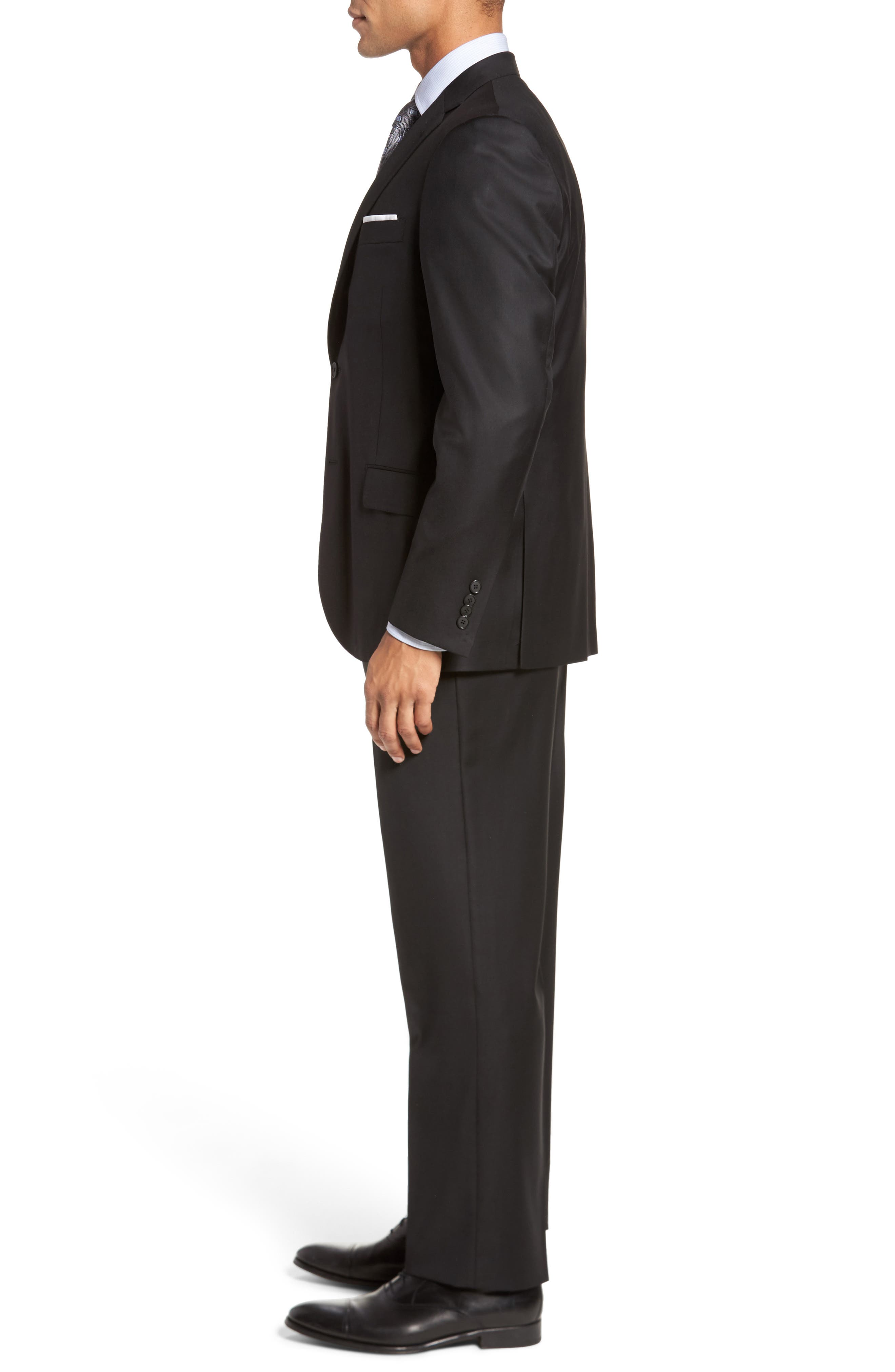 Classic B Fit Solid Loro Piana Wool Suit,                             Alternate thumbnail 3, color,                             Black Solid