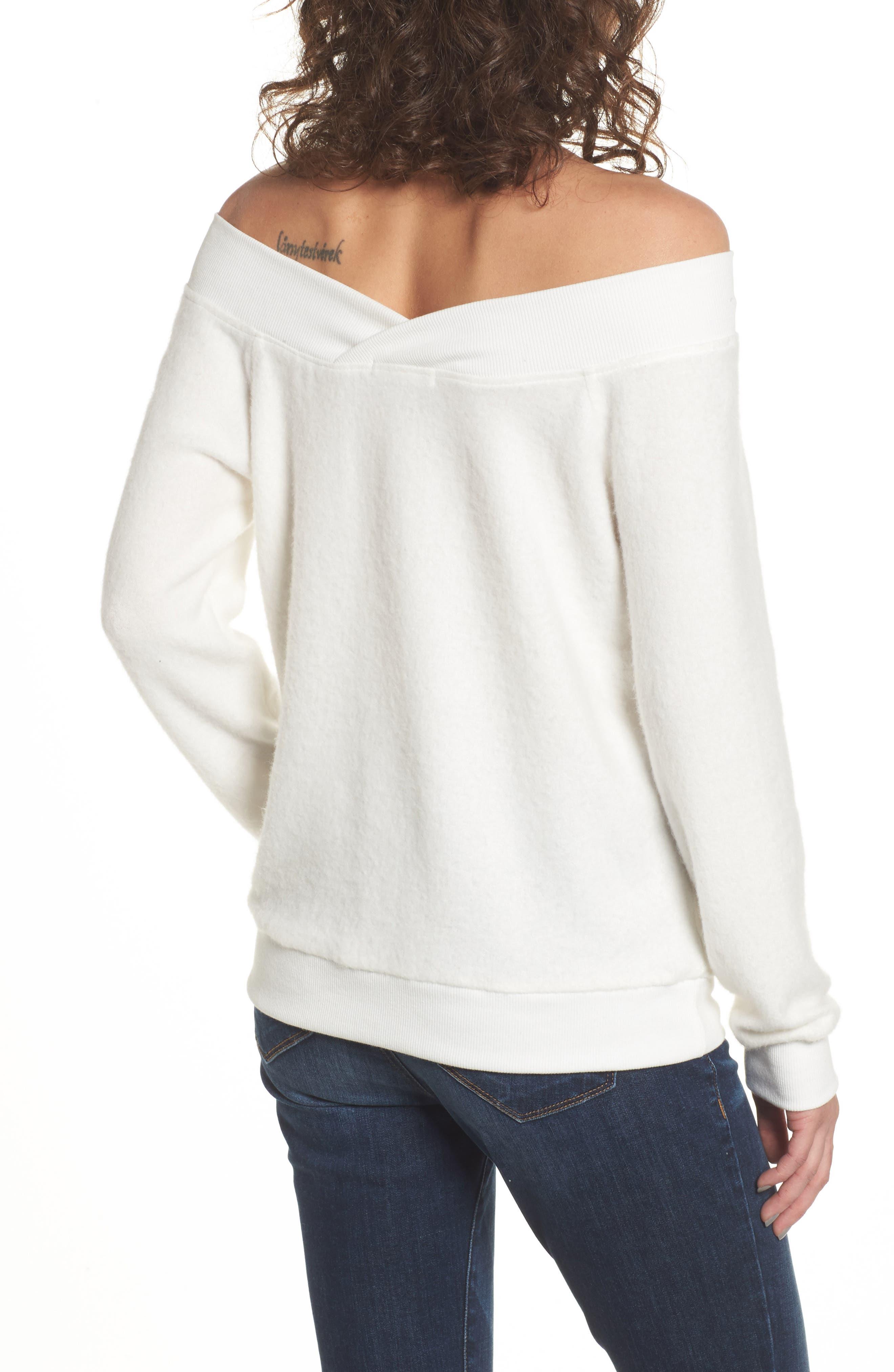 Alternate Image 2  - Socialite Off the Shoulder Fleece Top