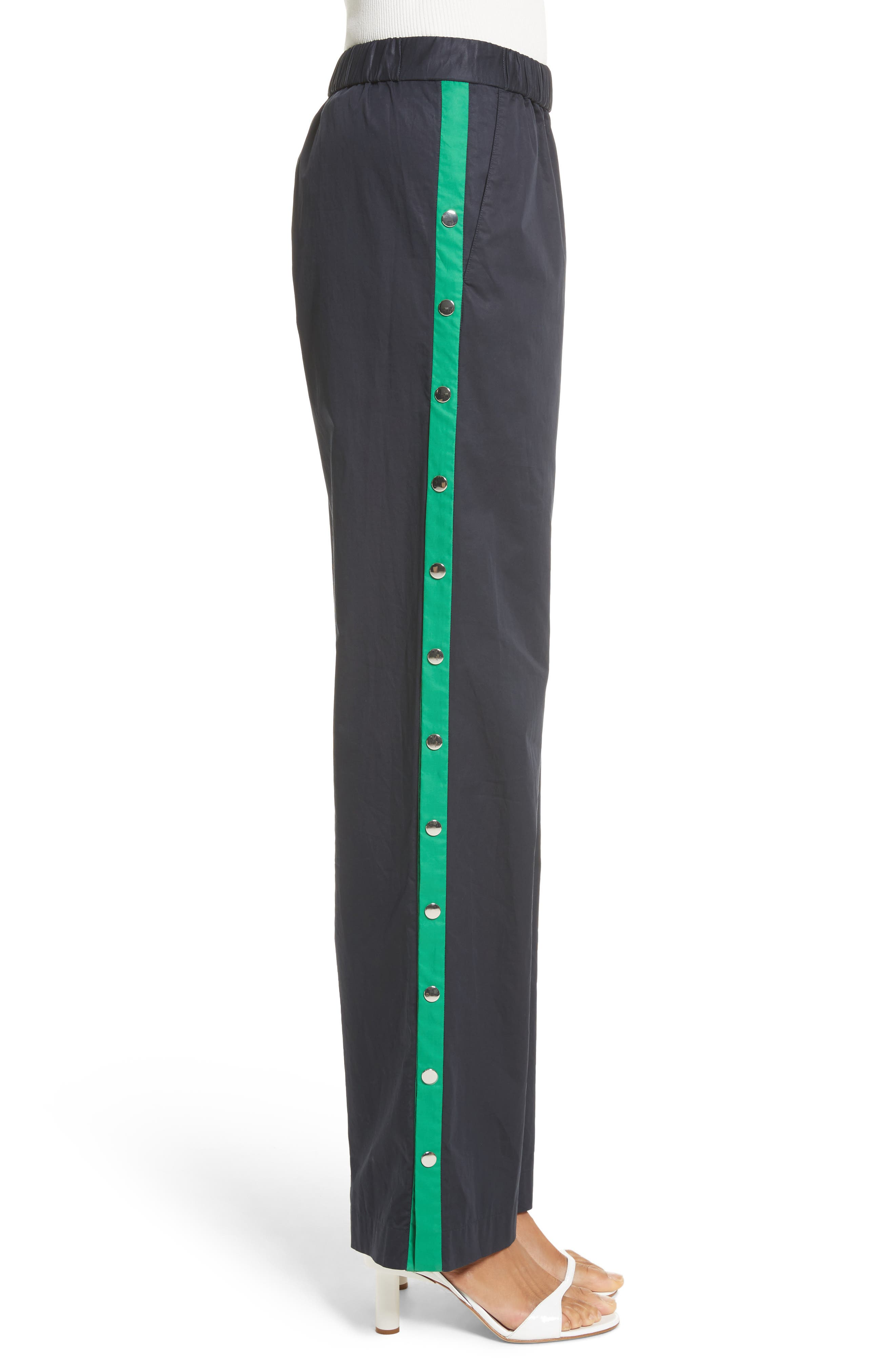 Snap Side Track Pants,                             Alternate thumbnail 3, color,                             Navy/ Green Multi