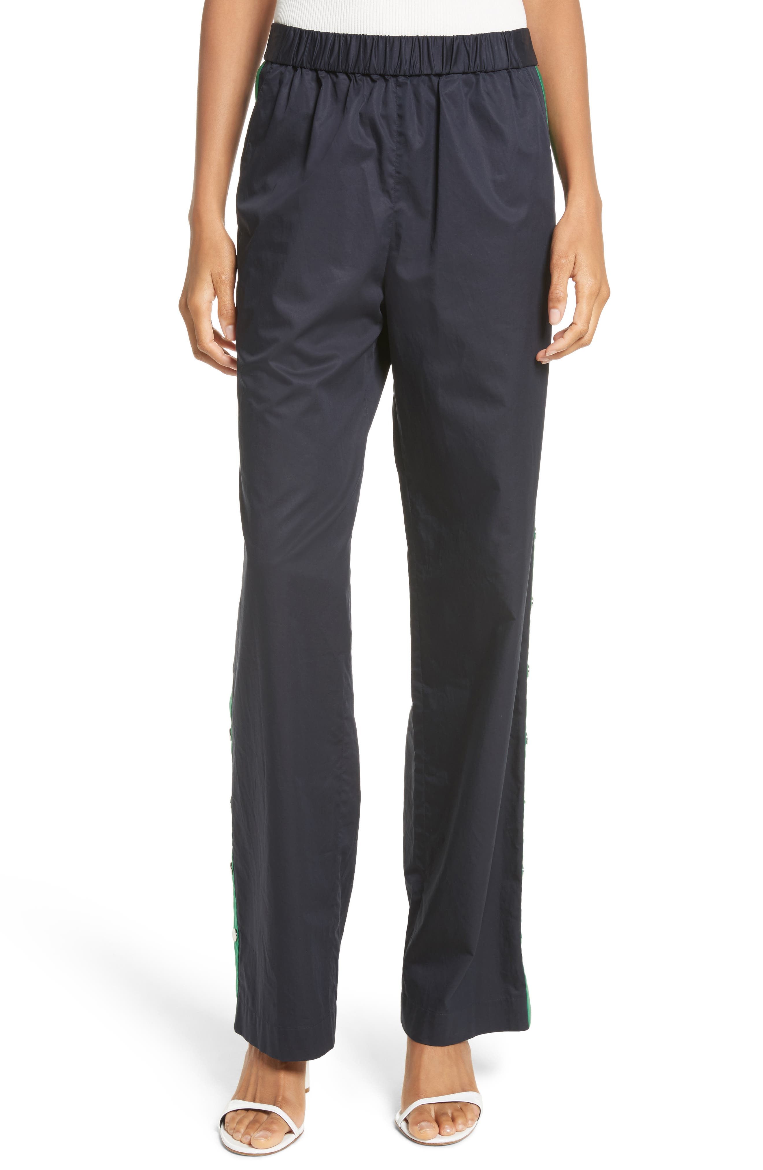 Snap Side Track Pants,                             Main thumbnail 1, color,                             Navy/ Green Multi