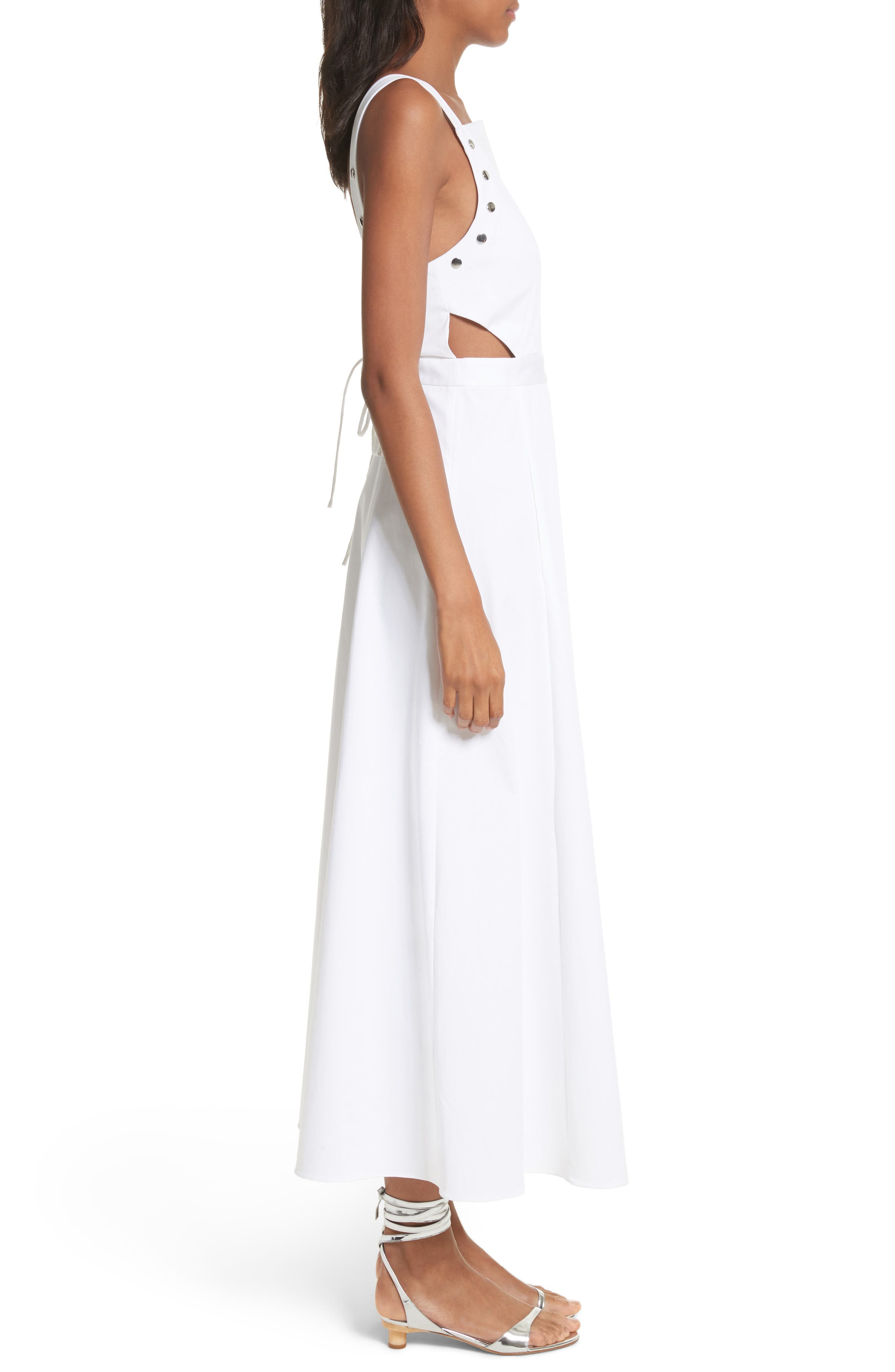 Crosby Snap Strappy Dress,                             Alternate thumbnail 5, color,                             White
