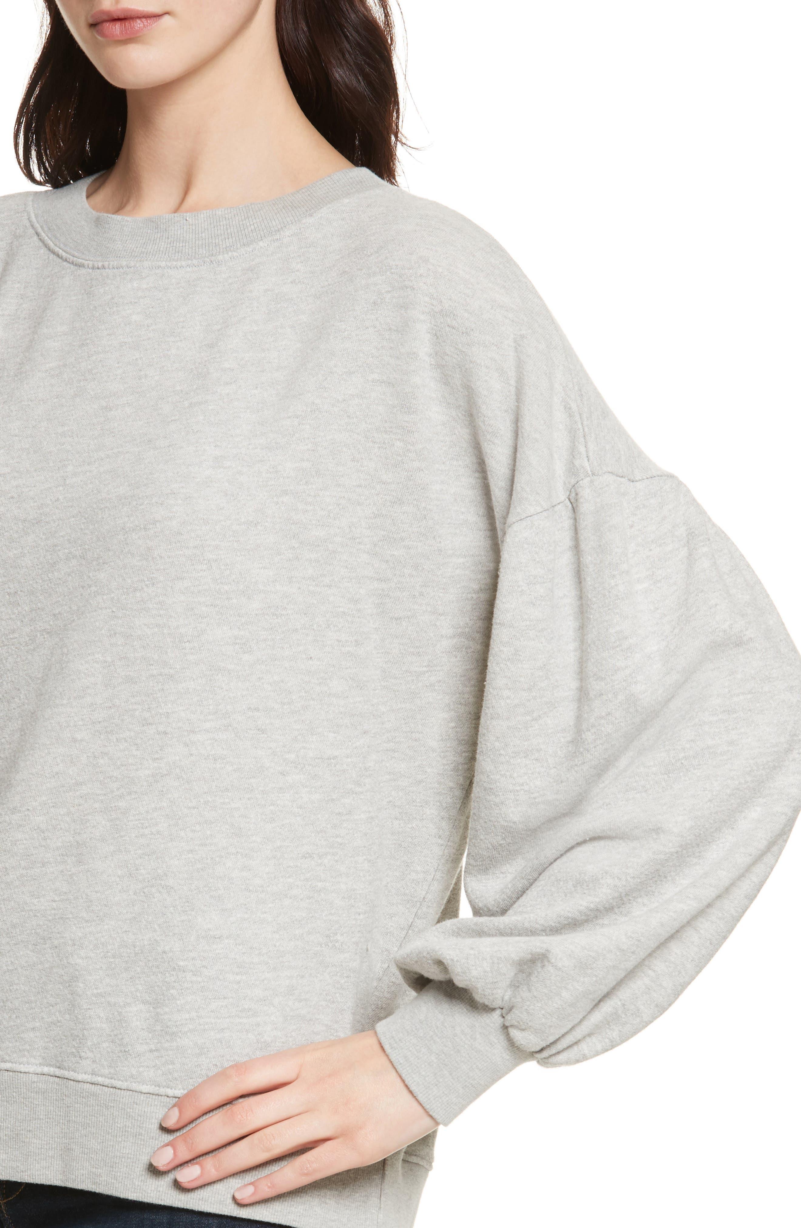 Isae Bishop Sleeve Sweatshirt,                             Alternate thumbnail 4, color,                             Heather Grey