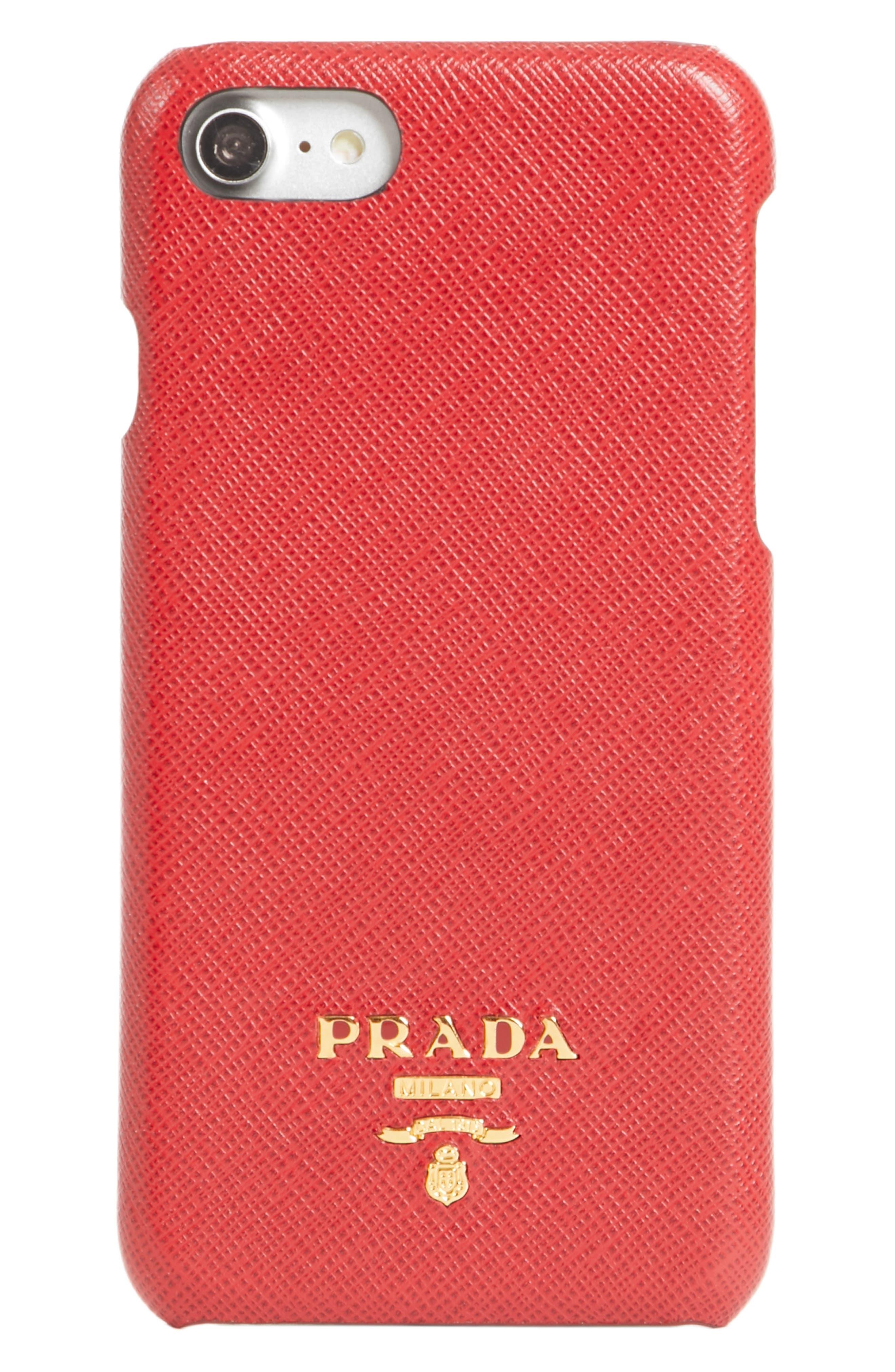 Alternate Image 1 Selected - Prada Saffiano Metal Oro iPhone 7 Case