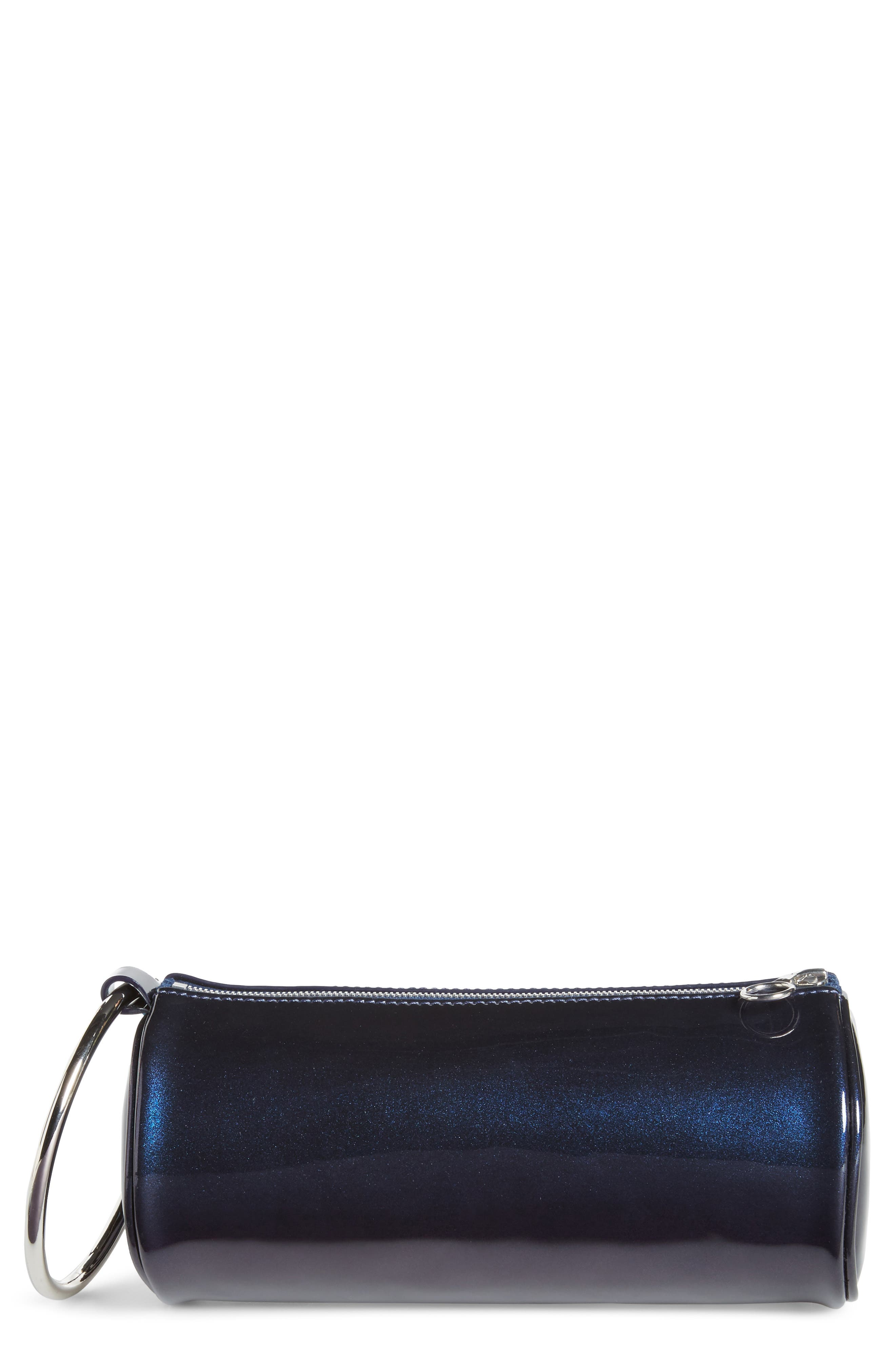KARA Iridescent Leather Duffel Wristlet Clutch