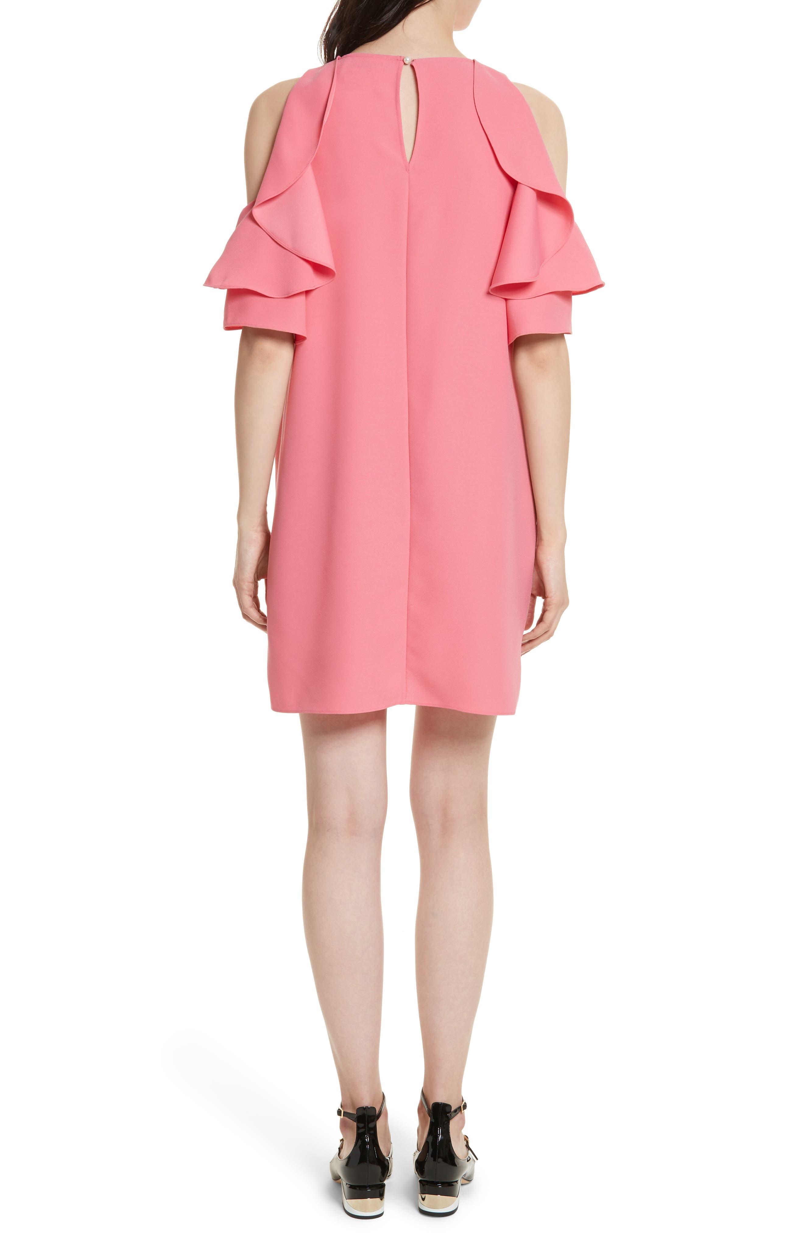 cold shoulder shift dress,                             Alternate thumbnail 2, color,                             Petunia