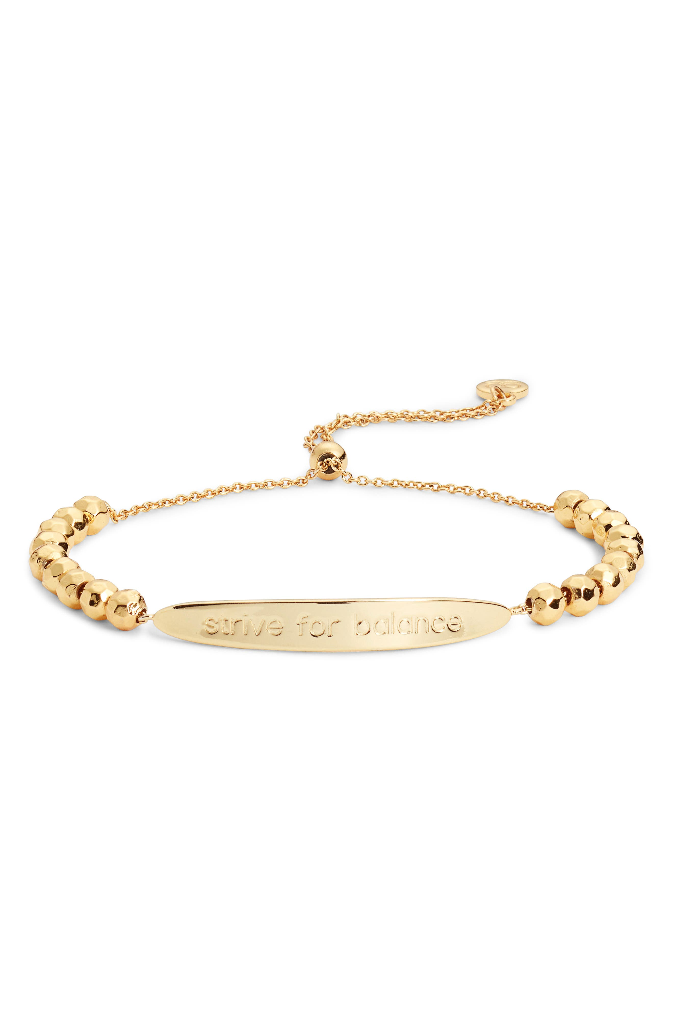 Power Intention Strive For Balance Bracelet,                         Main,                         color, Gold