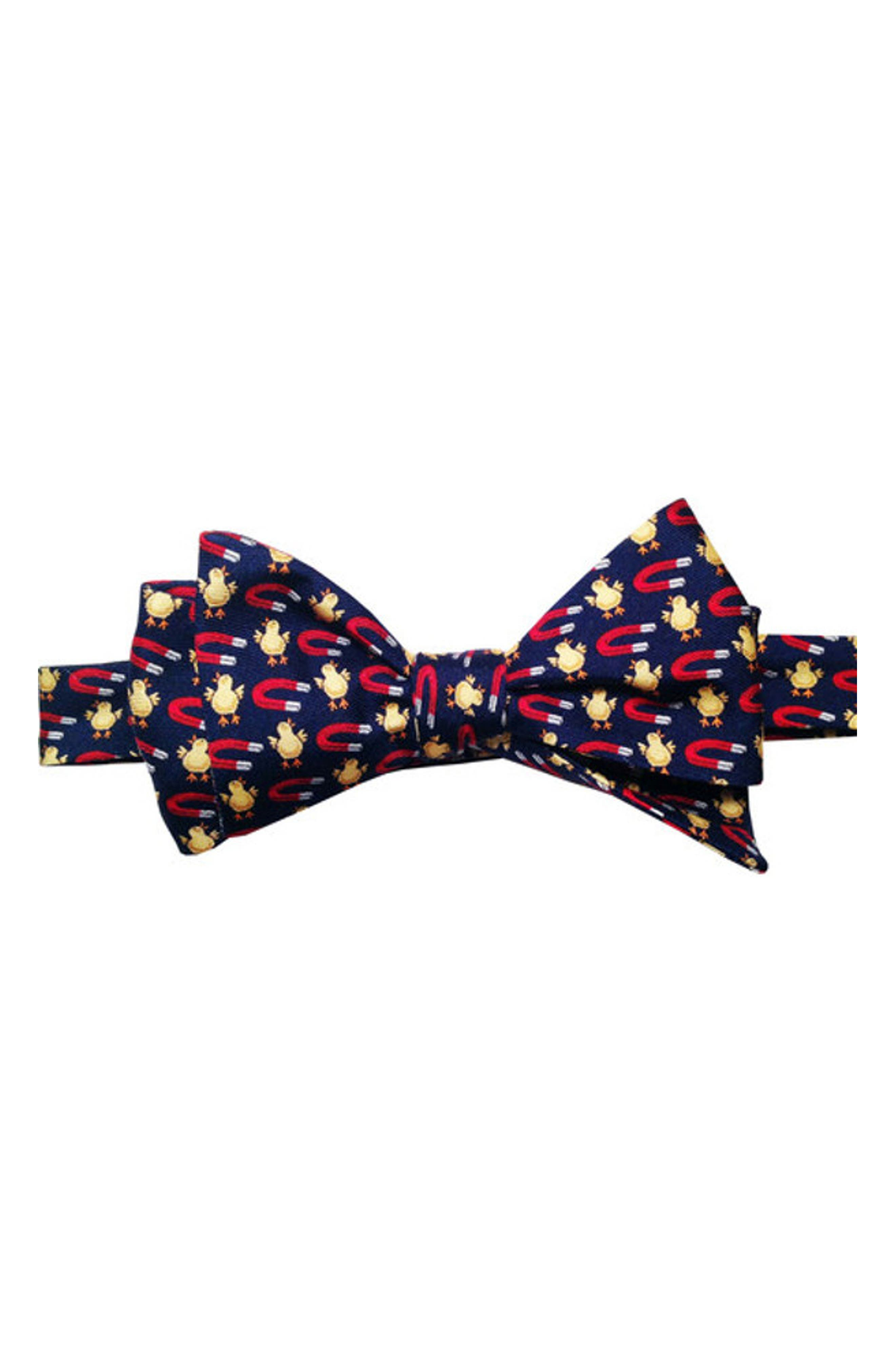 Chick Magnet Silk Bow Tie,                         Main,                         color, Navy