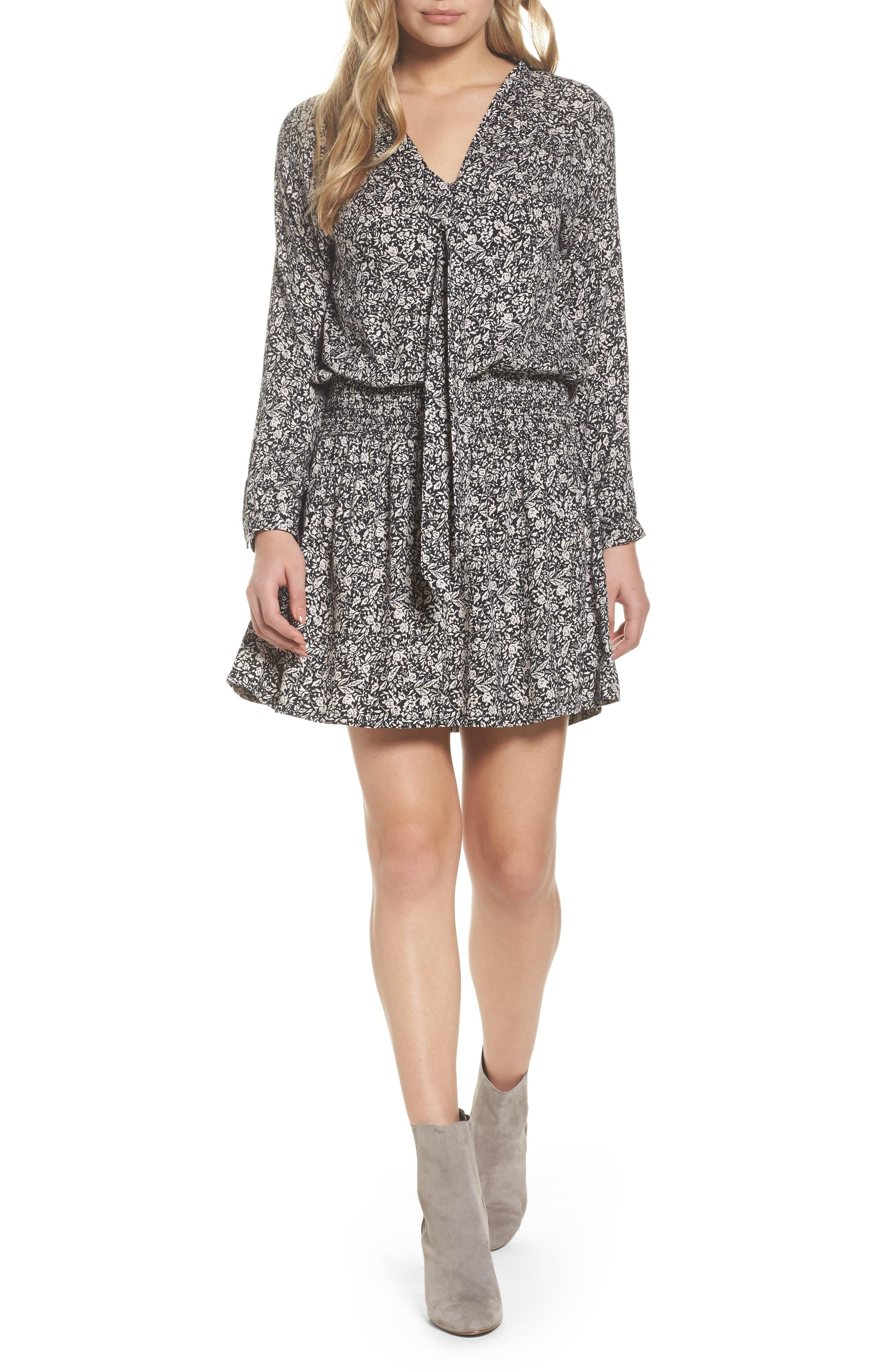 Ivy Blouson Dress,                             Main thumbnail 1, color,                             Blk